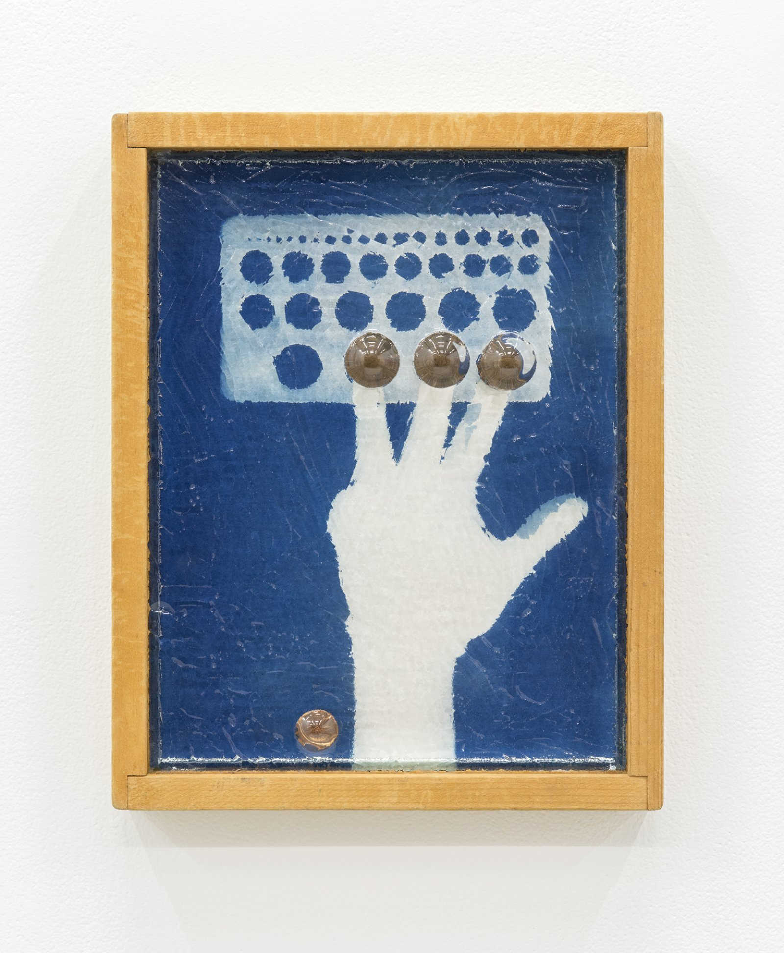 Julia Feyrer, 2012, 1913, 1914, 1915..., 2013, custom fused glass, rust stained wood frame, canadian pennies, mirror inset, magnets, cyanotype, 15 x 12 in. (38 x 30 cm)