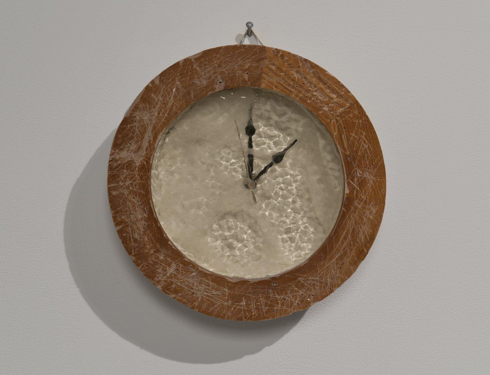 Julia Feyrer, Antiqued/Muffled (The Crypt), 2012, English Muffle Antique Veil Glass, wood, fake cobwebs, styrofoam, plaster, plastic clock hands, mothball, tape measure, quartz clock movement, 13 diameter x 3 in. (32 diameter x 8 cm) by Julia Feyrer