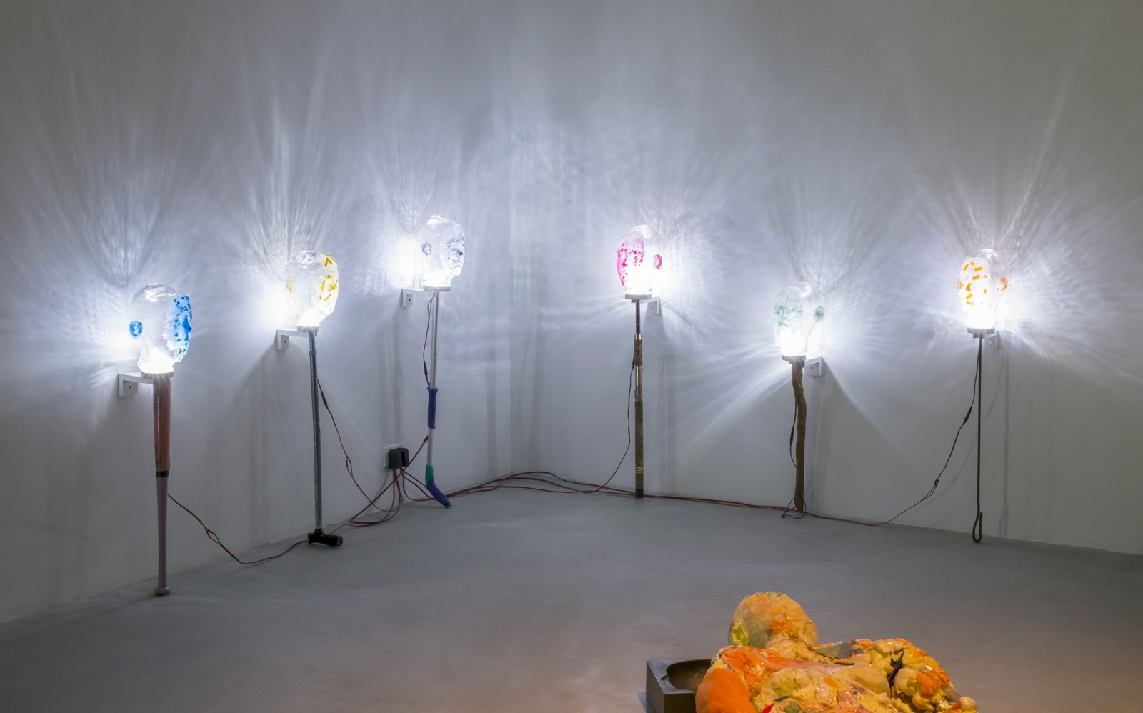 Julia Feyrer,Witnesses, 2018, handblown glass, dyed silicone, LED lights, mixed media, dimensions variable. Installation view,Background Actors,Catriona Jeffries, Vancouver, 2018