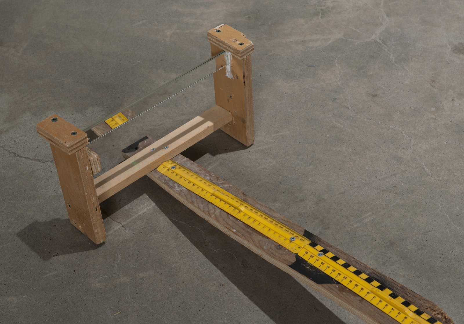 Julia Feyrer, Curriculum Arm (detail), 2011, wood, plastic rulers, handle, double sided mirror, 34 x 29 x 131 in. (8 x 14 x 50 cm) by Julia Feyrer