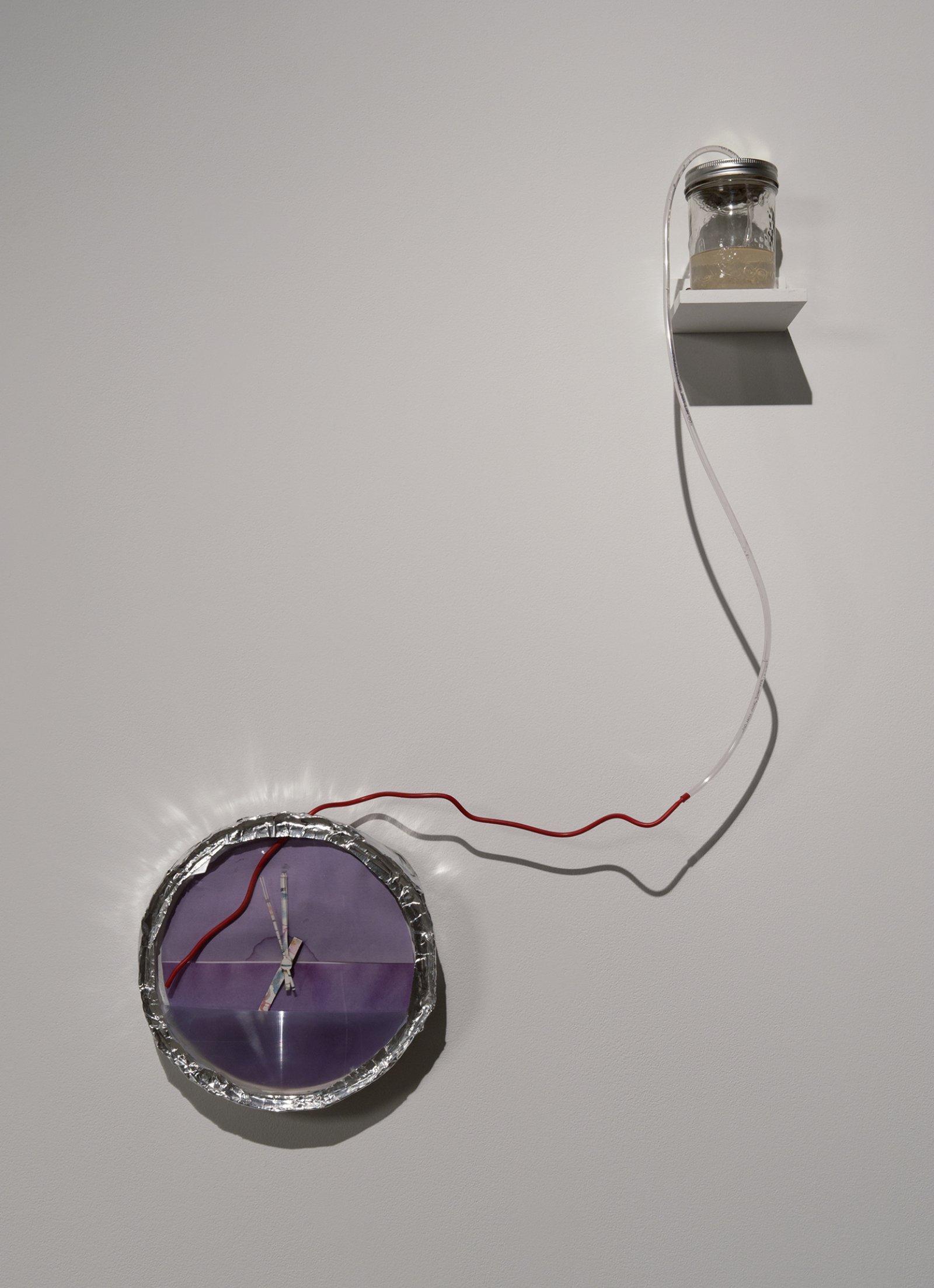 Julia Feyrer, Litmus Clock (Bifocal), 2012, fresnel lens, neutral litmus paper, convex glass, watercolour clock hands, home-brewed mead in jar, plastic clock body, metal flashing, vinyl tubing, quartz clock movement by Julia Feyrer