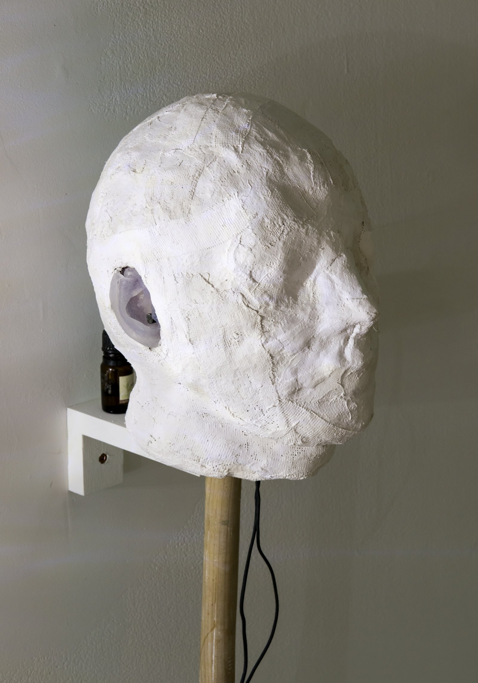 Julia Feyrer, Little Pitchers have Big Ears (detail), 2012, plaster bandage, mugwort, mugwort oil, binaural microphones, silicone ears, cotton, felt, wood, compass, 36 x 8 x 9 in. (91 x 20 x 23 cm)