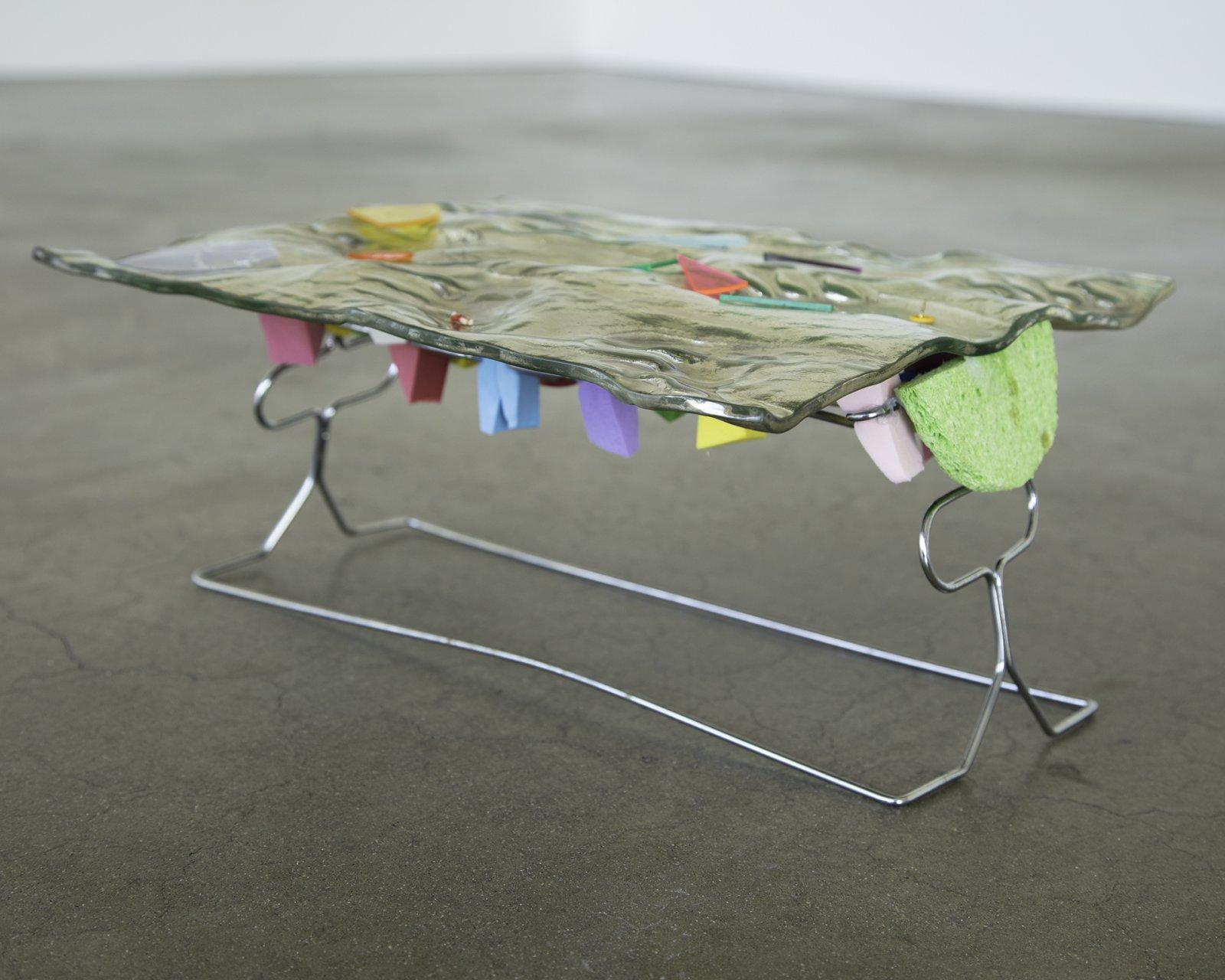 Julia Feyrer,New Pedestrians, 2017,silvered glass, sponges, metal rack, dimensions variable