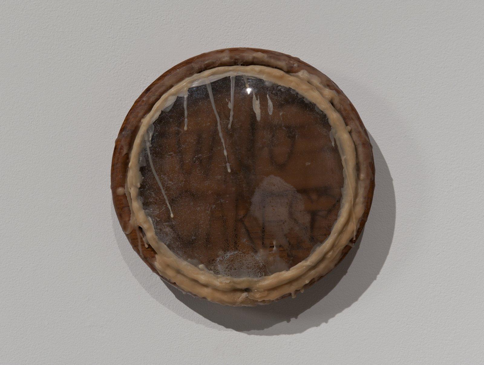 Julia Feyrer, Sauna Clock Diffuser, 2012, wood clock body, condensation, convex glass, wood clock hands, thyme oil, quartz clock movement, 10 x 10 x 3 in. (26 x 26 x 7 cm) by Julia Feyrer