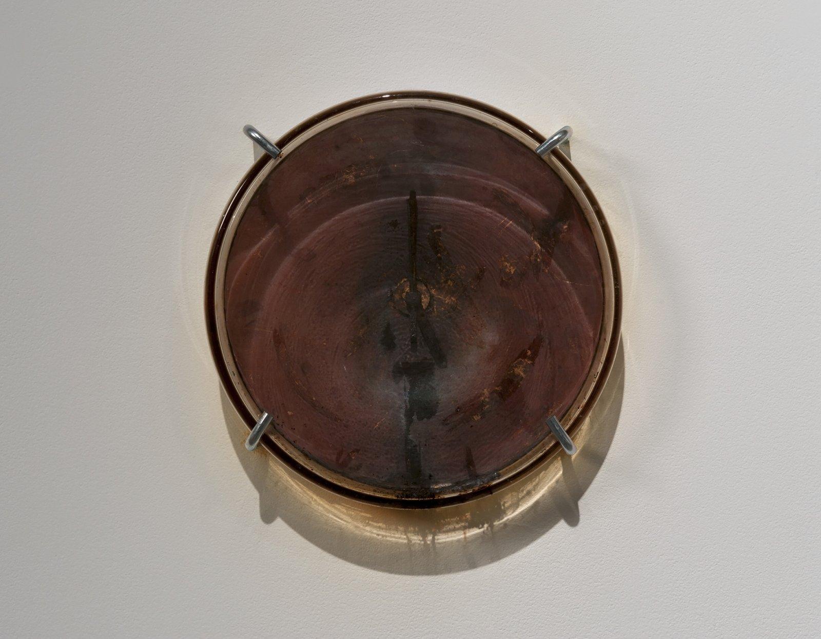Julia Feyrer, Sublimation Clock, 2012, iodine crystals, silver leaf, lampblack, glass, acrylic, metal clock hands, quartz clock movement, 12 diameter x 3 in. (30 diameter x 7 cm) by Julia Feyrer