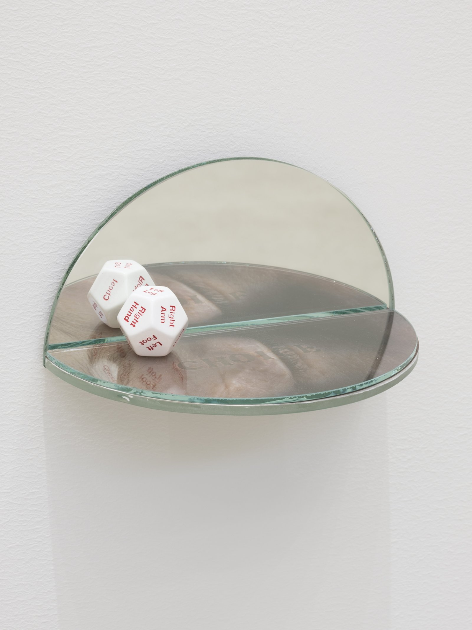 Julia Feyrer, The Ambidextrous Universe: seeing, 2018, mirror, liquid mirror, glass, fujiclear transparency, 12-sided die, 4 x 4 x 7 in. (9 x 9 x 18 cm)