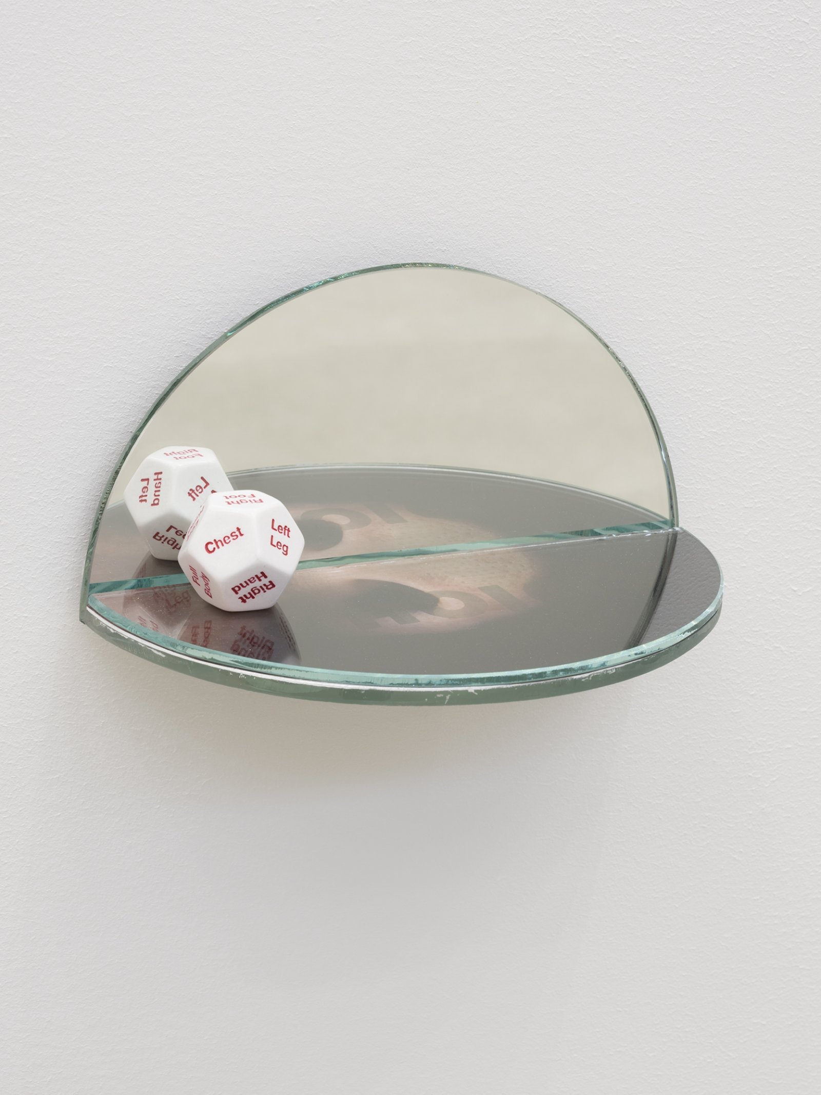 Julia Feyrer, The Ambidextrous Universe: smelling, 2018, mirror, liquid mirror, glass, fujiclear transparency, 12-sided die, 4 x 4 x 7 in. (9 x 9 x 18 cm)