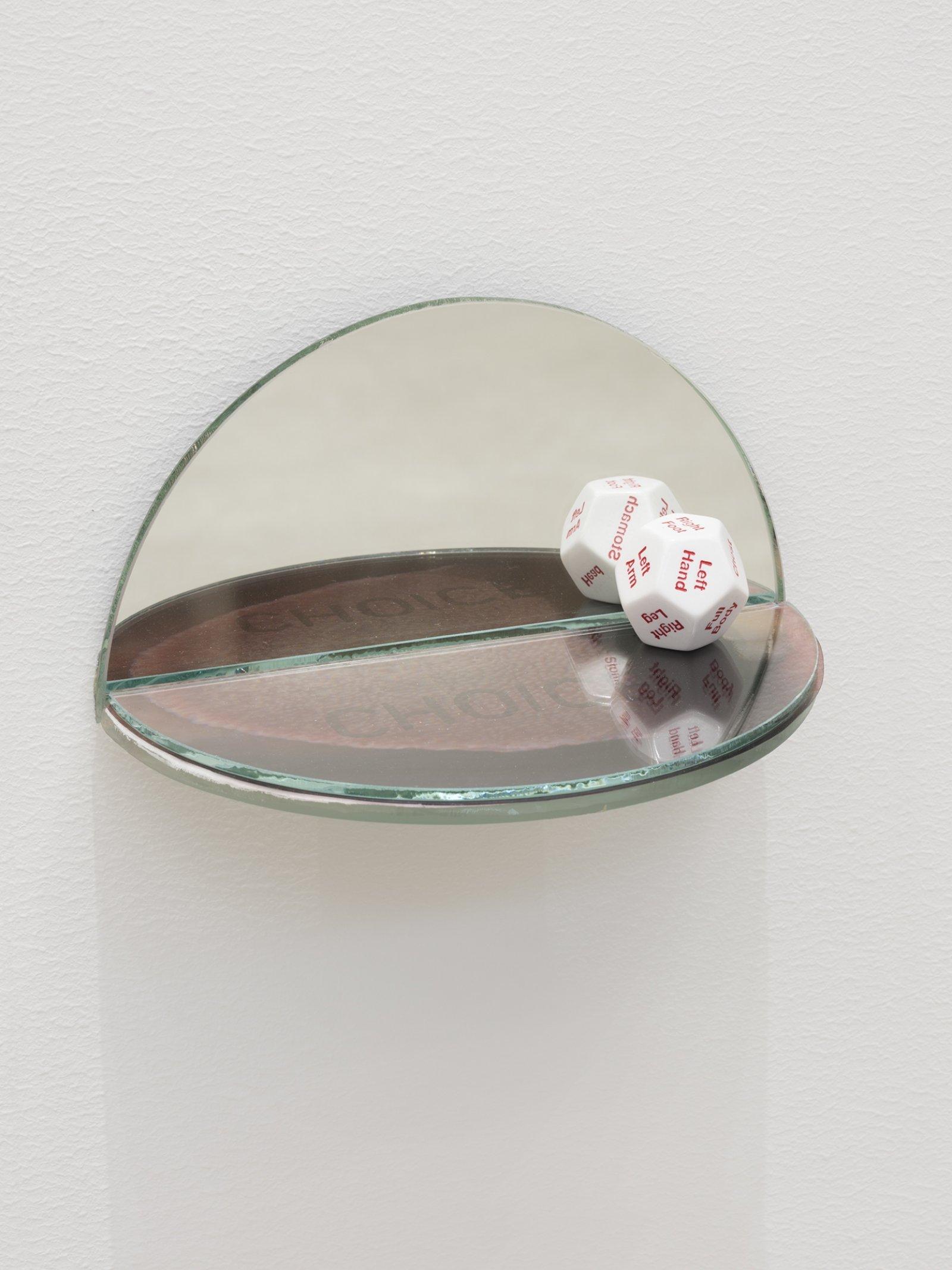 Julia Feyrer, The Ambidextrous Universe: tasting, 2018, mirror, liquid mirror, glass, fujiclear transparency, 12-sided die, 4 x 4 x 7 in. (9 x 9 x 18 cm)