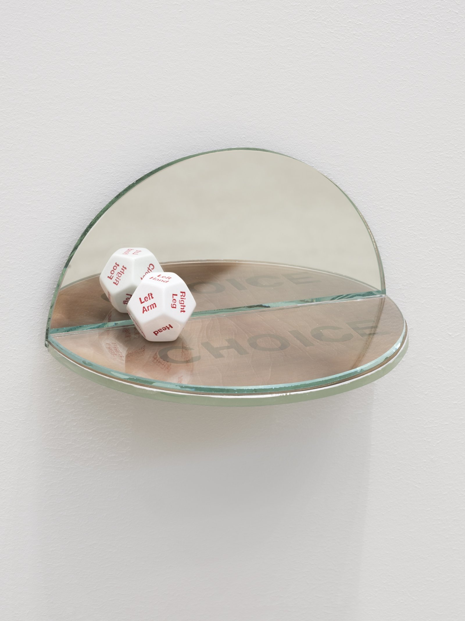 Julia Feyrer, The Ambidextrous Universe: touching, 2018, mirror, liquid mirror, glass, fujiclear transparency, 12-sided die, 4 x 4 x 7 in. (9 x 9 x 18 cm)