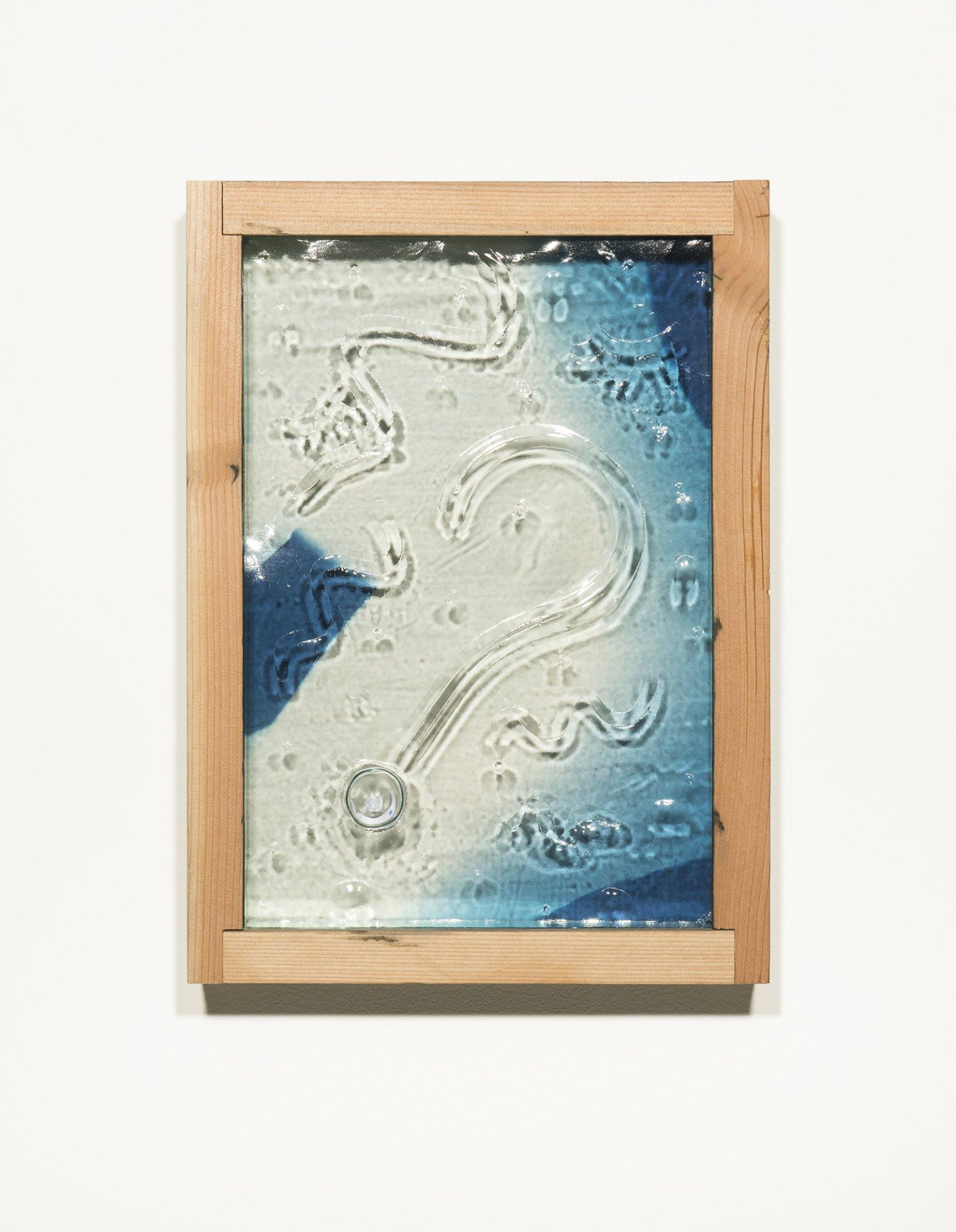 Julia Feyrer,The Pedestrians: Left Head, Right Head, Left Body, Right Body, Left Foot, Right Foot, 2014, 6 cyanotypes, dice, aged fir, mirror inlay, each 22 x 16 x 3 inches (56 x 41 x 8 cm)
