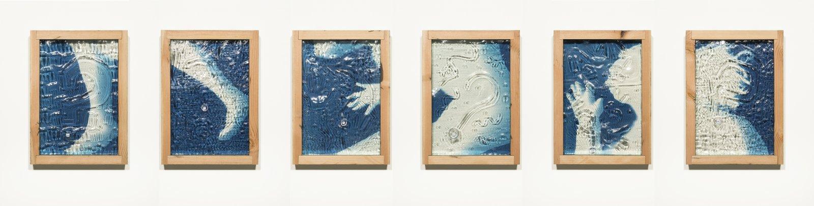 Julia Feyrer, The Pedestrians: Left Head, Right Head, Left Body, Right Body, Left Foot, Right Foot, 2014, 6 cyanotypes, dice, aged fir, mirror inlay, each 22 x 16 x 3 inches (56 x 41 x 8 cm)