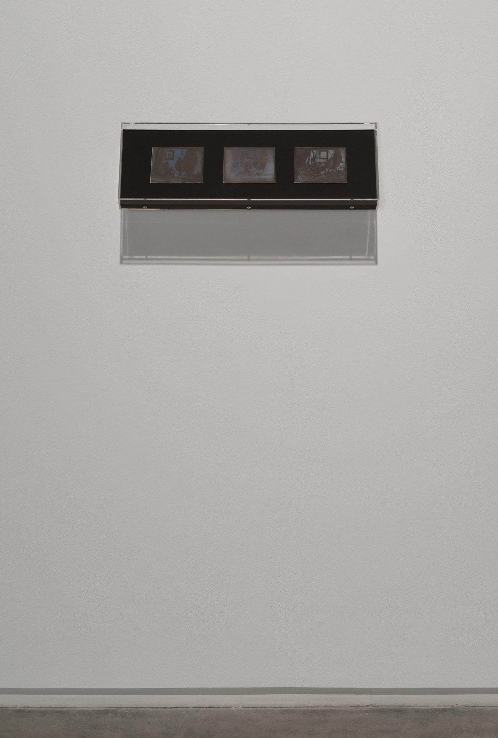 Julia Feyrer, Studio 1, 2 & 3fromThe artist's studio, 2010, becquerel daguerreotypes on silver coated brass, 7 x 21 x 2 (19 x 54 x 2 cm)