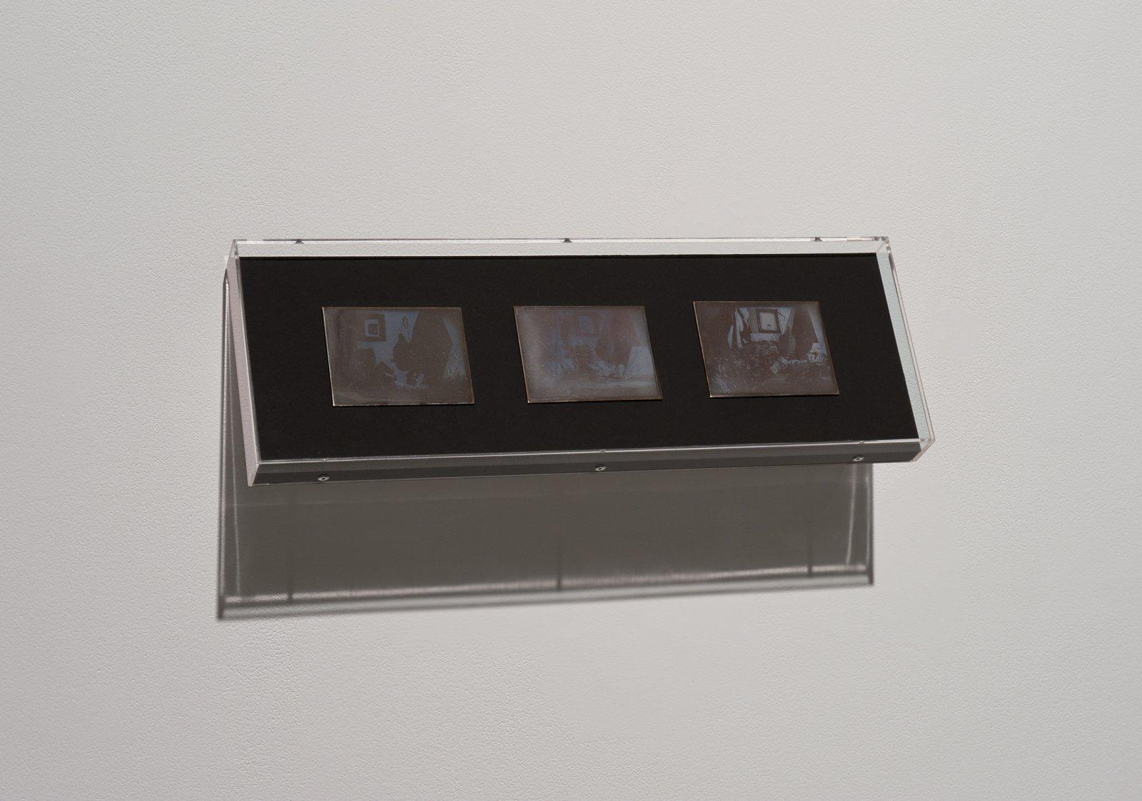 Julia Feyrer, Studio 1, 2 & 3, 2010, Becquerel Daguerreotypes on silver coated brass, 7 x 21 x 2 in. (19 x 54 x 2 cm), each daguerreotype: 3 x 4 in. (9 x 11 cm) by Julia Feyrer