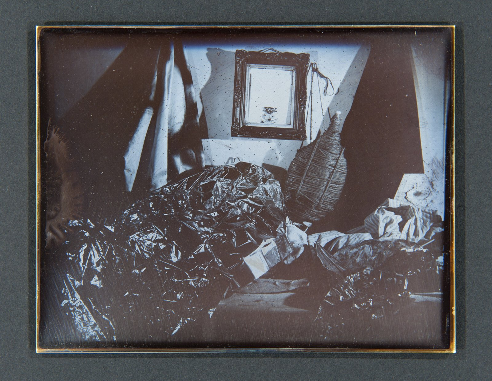 Julia Feyrer,Studio 1, 2 & 3from The artist's studio (detail), 2010, Becquerel Daguerreotypes on silver coated brass, 7 x 21 x 2 in. (19 x 54 x 2 cm), each daguerreotype: 3 x 4 in. (9 x 11 cm)