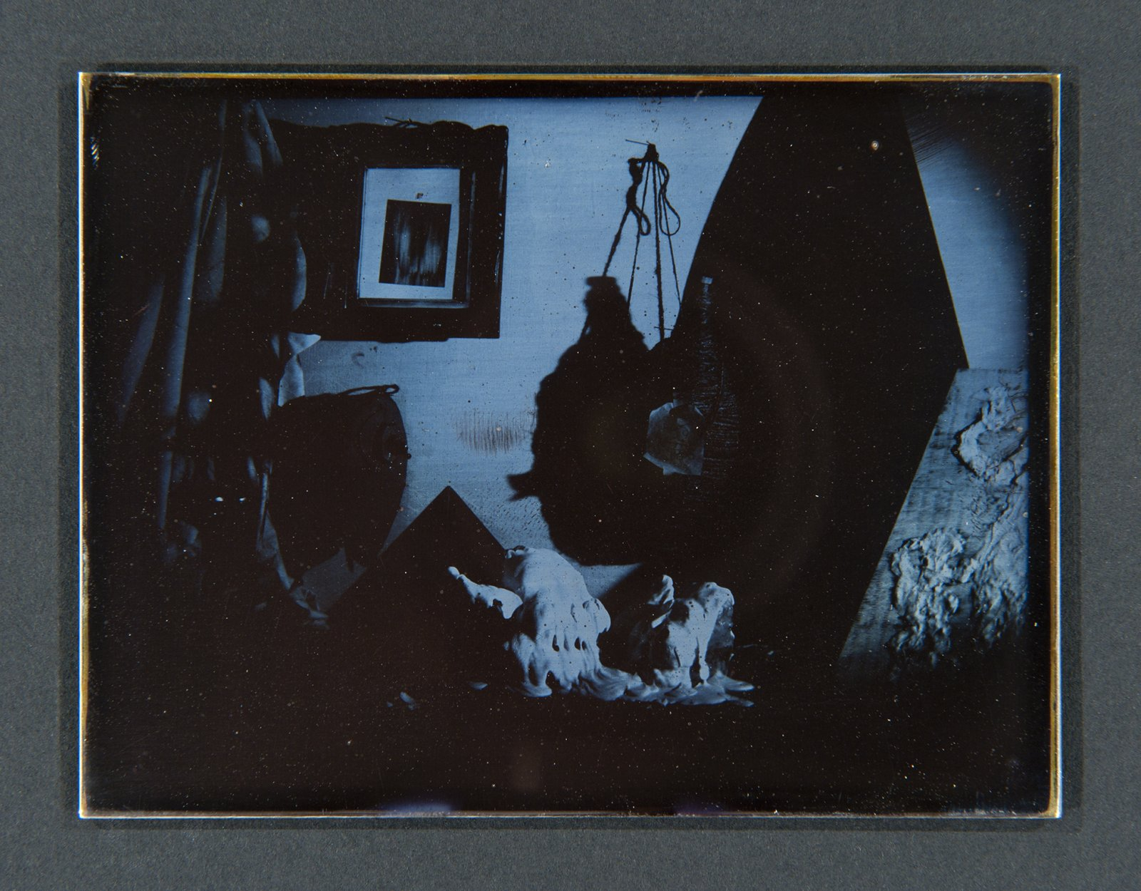 Julia Feyrer, Studio 1, 2 & 3 from The artist's studio (detail), 2010, Becquerel Daguerreotypes on silver coated brass, 7 x 21 x 2 in. (19 x 54 x 2 cm), each daguerreotype: 3 x 4 in. (9 x 11 cm) by Julia Feyrer