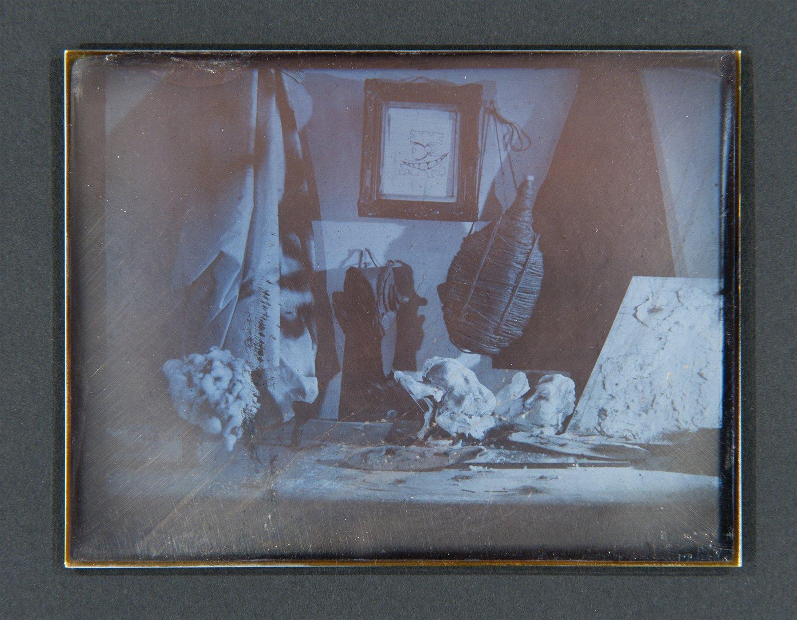 Julia Feyrer,Studio 1, 2 & 3fromThe artist's studio(detail), 2010, Becquerel Daguerreotypes on silver coated brass, 7 x 21 x 2 in. (19 x 54 x 2 cm), each daguerreotype: 3 x 4 in. (9 x 11 cm)