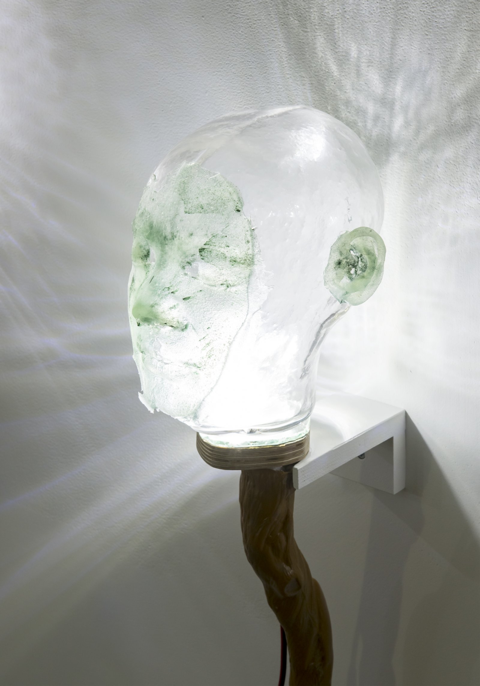 Julia Feyrer, Witnesses (detail), 2018, spirulina, quidditch broom handle, handblown glass, dyed silicone, LED lights, 34 x 7 x 10 in. (86 x 18 x 25 cm)
