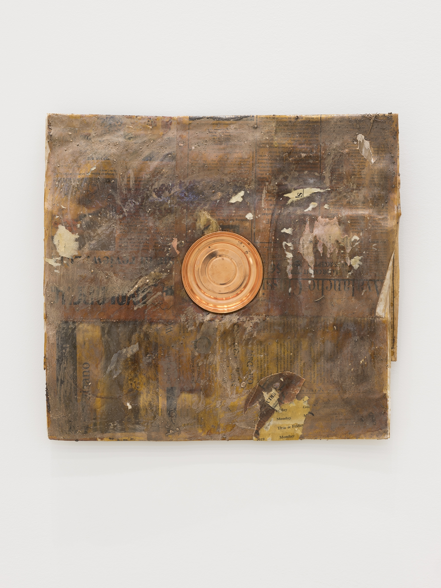 Rochelle Goldberg, Dirty Wall, 2019, newsprint, shellac, copperplated can, dirt from the river, 16 x 18 in. (41 x 45 cm) by