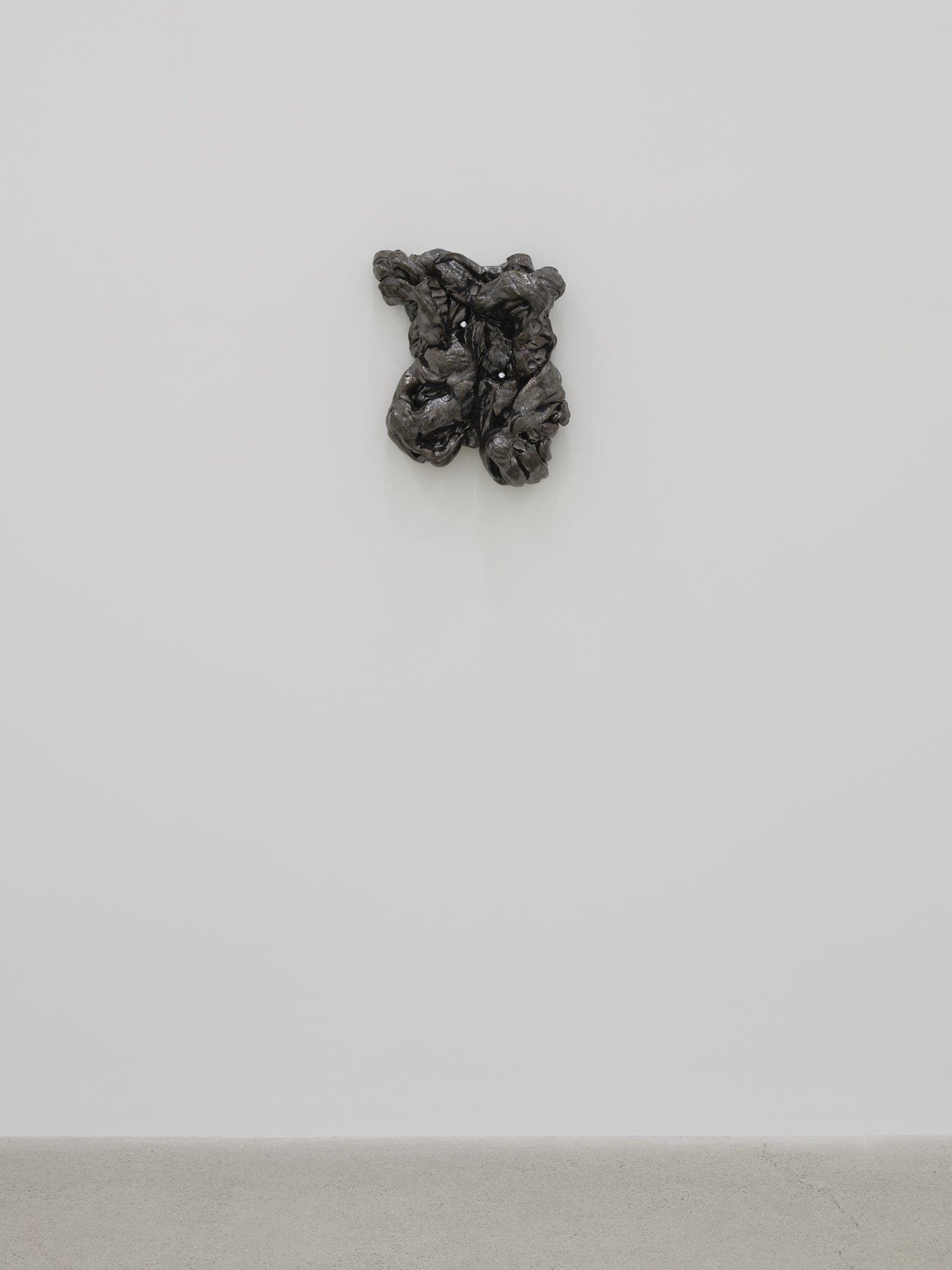 Rochelle Goldberg, Composite Contact IV, 2019, glazed ceramic, nails, 14 x 13 x 5 in. (36 x 33 x 13 cm) by Rochelle Goldberg