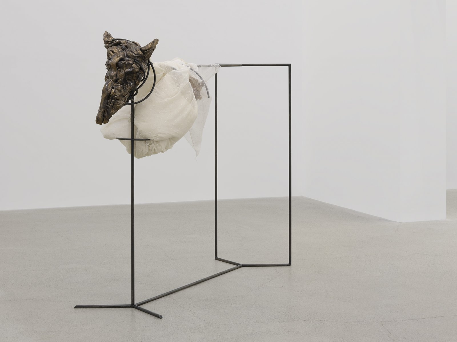 Rochelle Goldberg, Gatekeeper: And still it breathes within this body, 2019, glazed ceramic, steel, curtain, polyester fabric, acrylic, pillow, 58 x 21 x 64 in. (146 x 52 x 163 cm) by Rochelle Goldberg