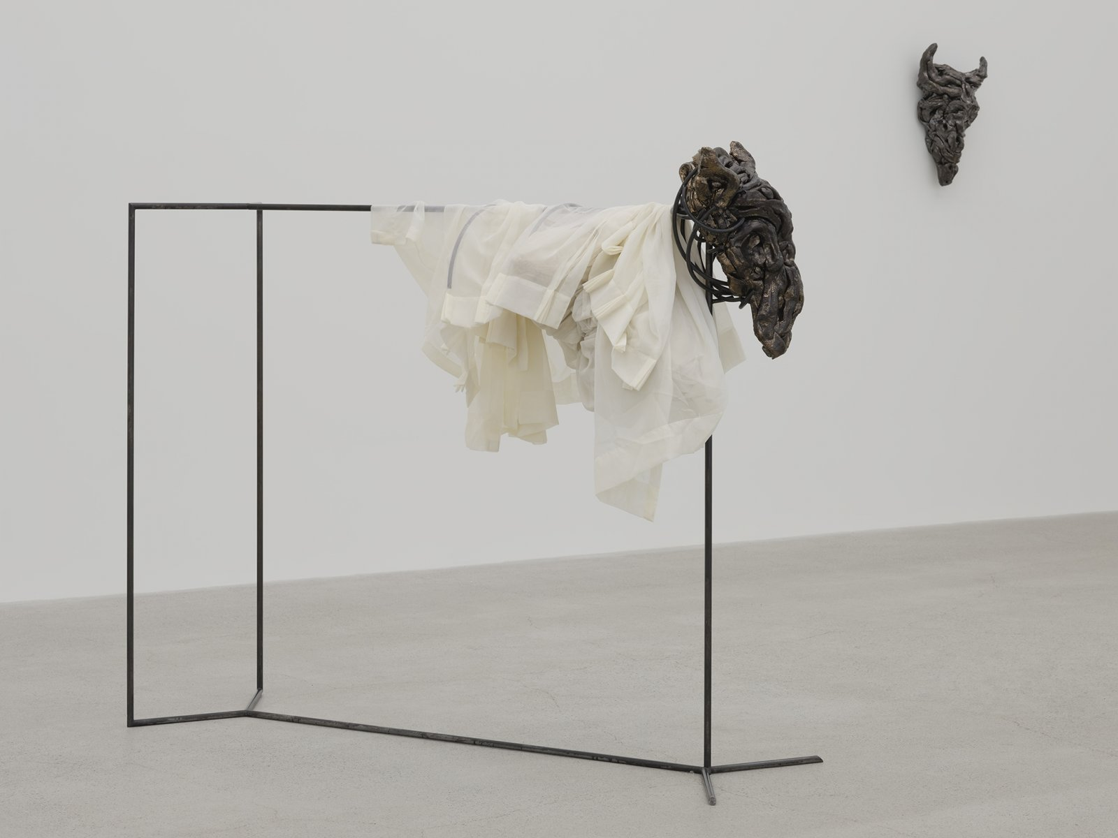 Rochelle Goldberg, Gatekeeper: It's growing at every cost, 2019, glazed ceramic, steel, curtain, polyester fabric, pillow, 55 x 21 x 64 in. (140 x 52 x 163 cm) by Rochelle Goldberg