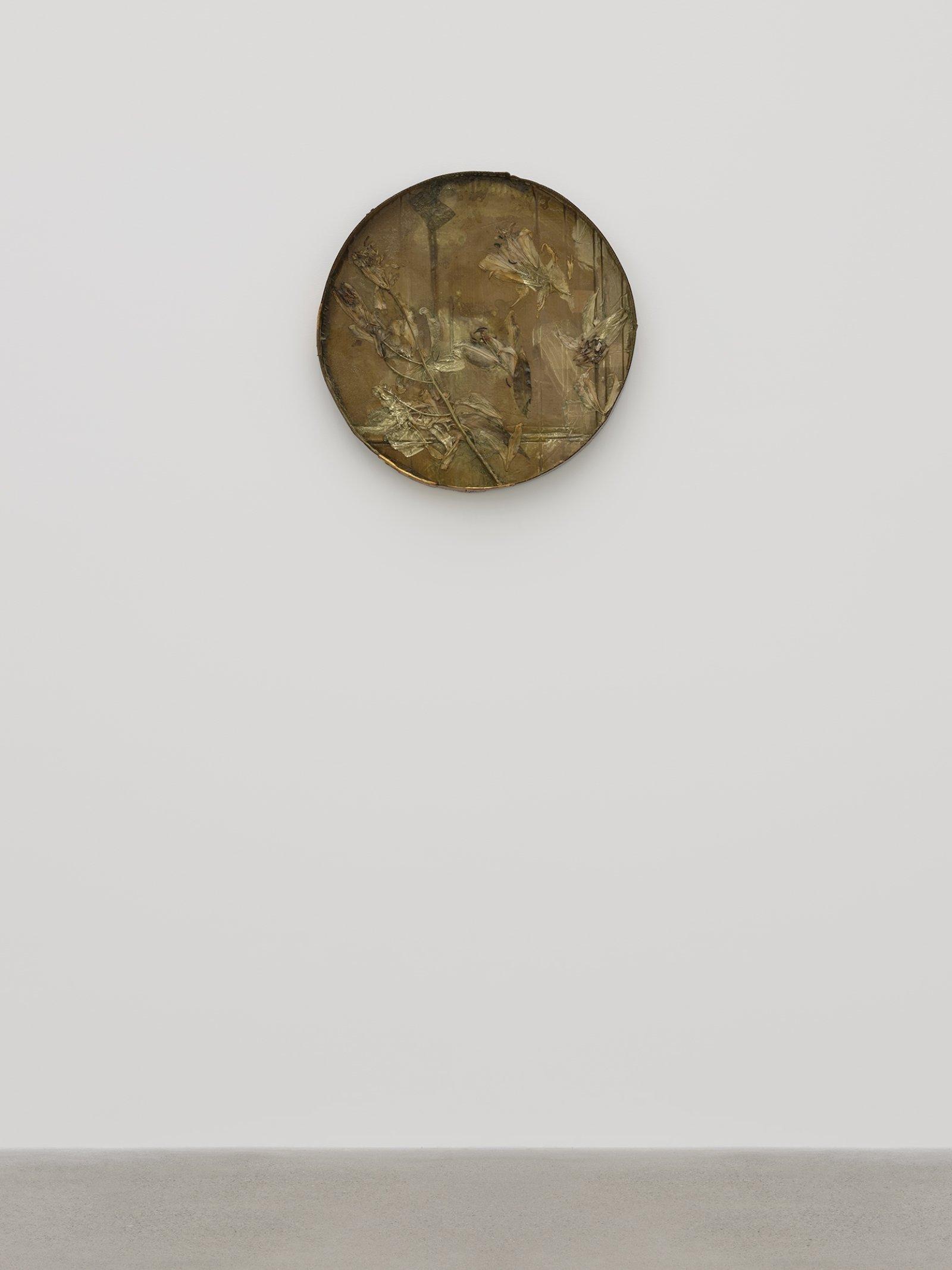 Rochelle Goldberg, Halo II, 2019, cardboard, tissue paper, lilies, shellac, gold pigment, gold tape, dirt, 27 x 27 x 3 in. (67 x 67 x 6 cm) by Rochelle Goldberg