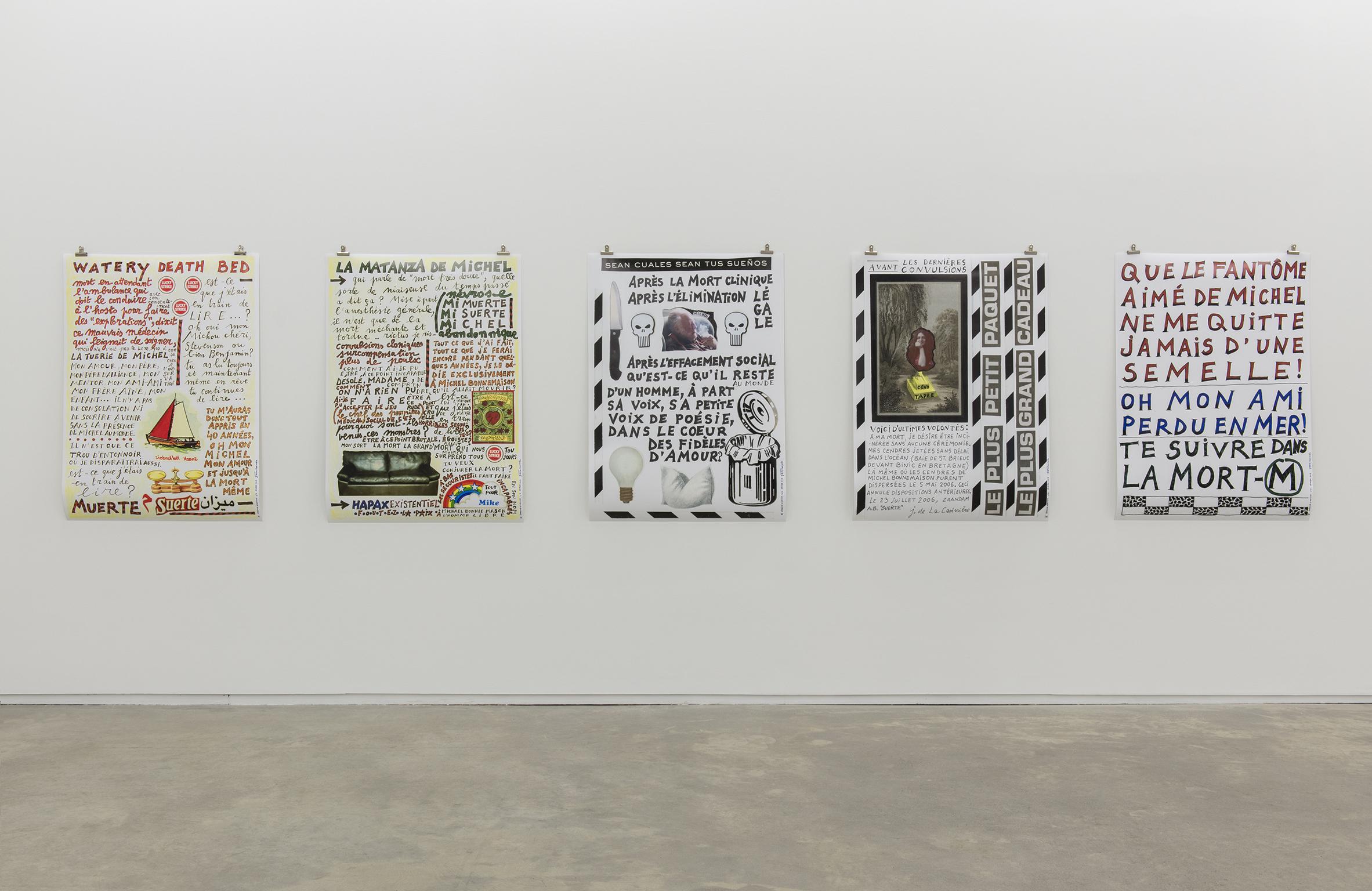 Joëlle de La Casinière, Le Tombeau pour Michel I, II, III, IV, V, 2013, poster prints, each 46 x 33 in. (116 x 84 cm) by