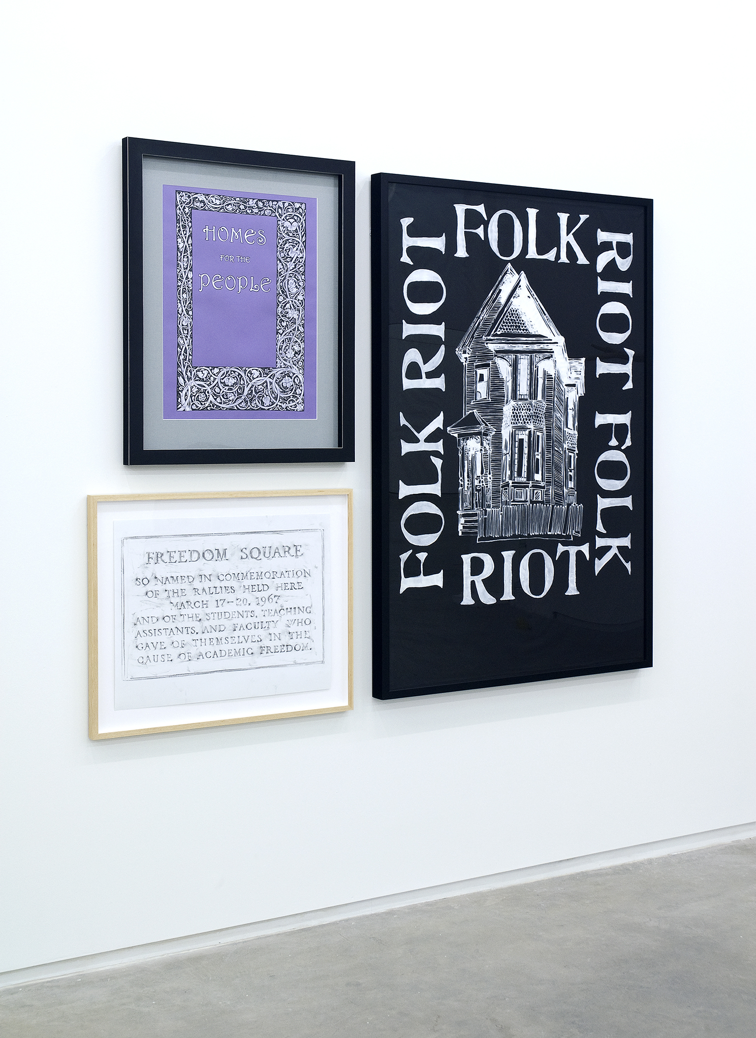Alex Morrison, Homes for the People, 2008, The Poetics of Grey (no. 15), 2007, Folk Riot, 2009, mixed media, dimensions variable by