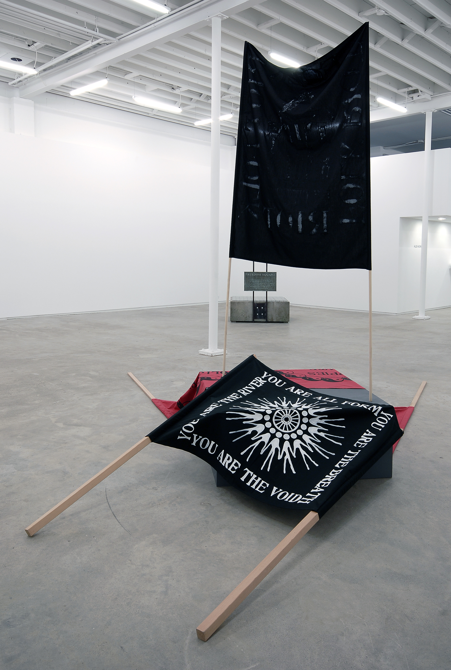 Alex Morrison, Folk Riot, Police Create Hippies/Hippies Create Police, You are All Form, You are the Breath, You are the River, You are the Void, 2007, acrylic on cotton, pine wood, medite plinth, dimensions variable by