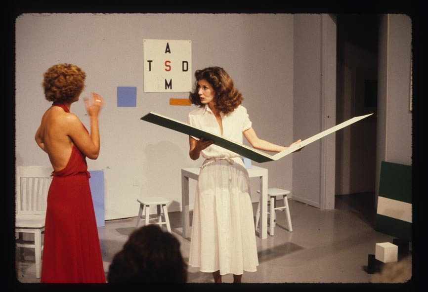 ​Guy de Cointet, Tell Me, 1979, with Denise Domerguew, Helen Mendez and Jane Zingale, photographic documentation of performance at Rosamund Felsen Gallery, March 1979, each 8 x 12 in. (21 x 30 cm) by