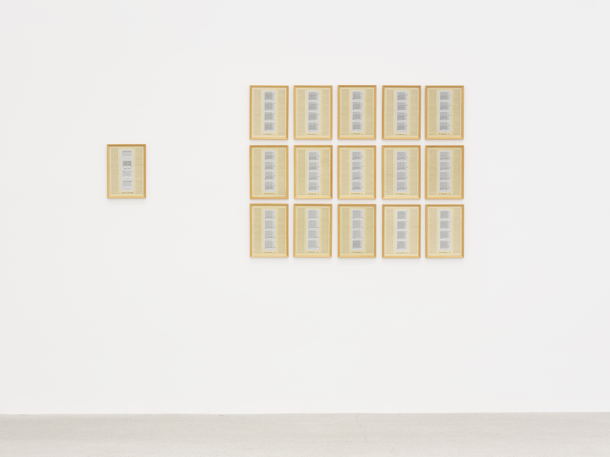 Hanne Darboven, 10. Variante, 1975, 15 parts and 1 index, ink, collage, silkscreen print on paper, each 11 x 8 in. (29 x 21 cm) by