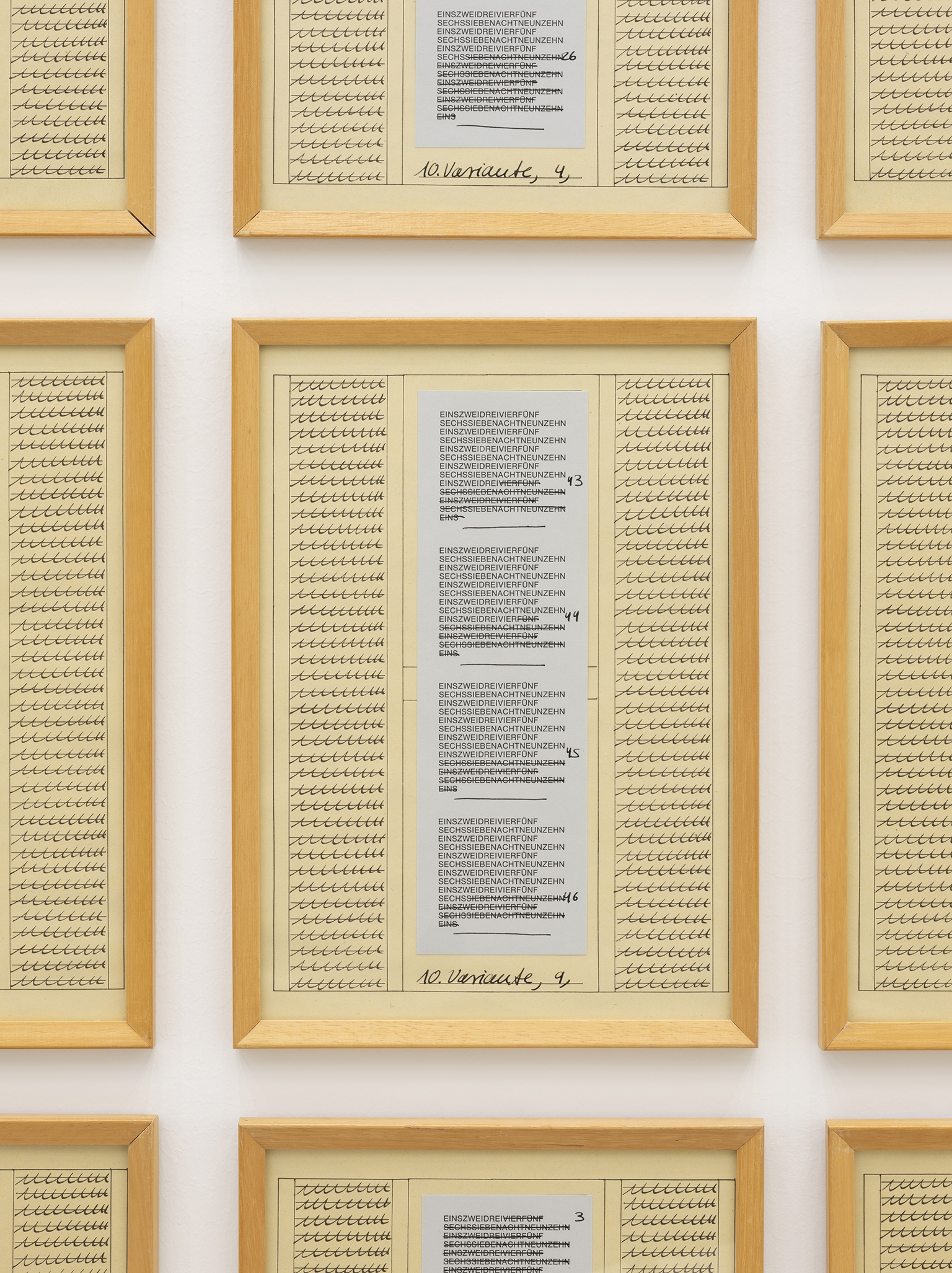 Hanne Darboven, 10. Variante (detail), 1975, 15 parts and 1 index, ink, collage, silkscreen print on paper, each 11 x 8 in. (29 x 21 cm) by