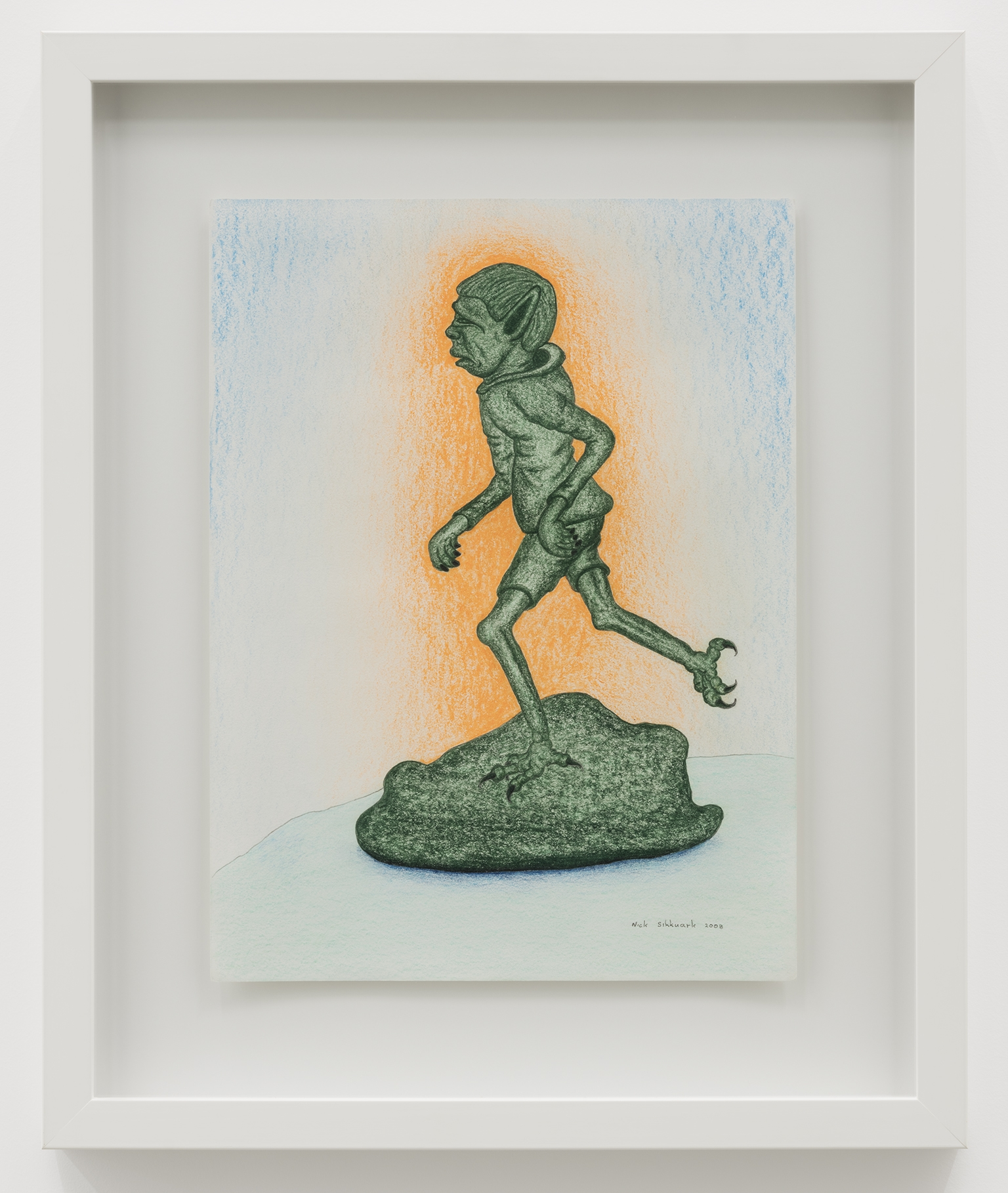 Nick Sikkuark, untitled (running spirit), 2008, coloured pencil on paper, 16 x 12 in. (41 x 29 cm) by