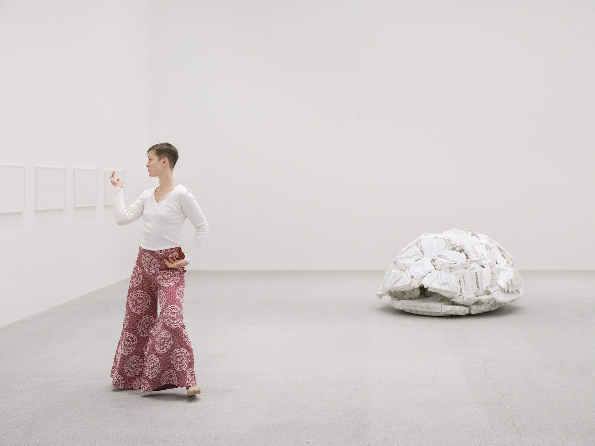 "Trisha Brown and Trisha Brown Dance Company, Accumulation, 1971, choreography for 1 performer, ""Uncle John's Band"" by The Grateful Dead (1970), 4 minutes, 46 seconds. Installation view, Unexplained Parade, Catriona Jeffries, Vancouver, February 9, 2019 by"