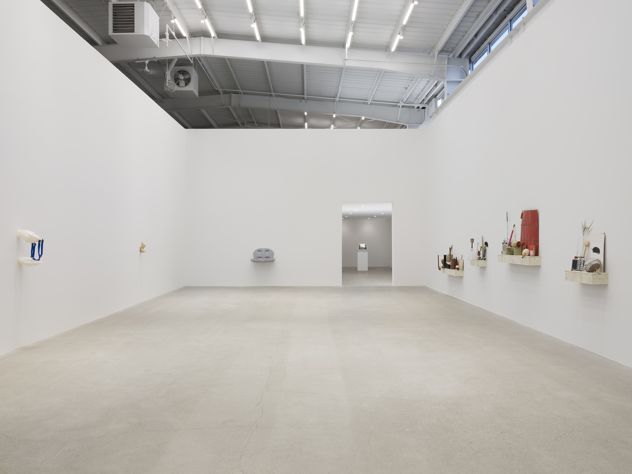 Chris Burden, Alex Frost, Myfanwy MacLeod, Nicole Wermers, installation view, Unexplained Parade, Catriona Jeffries, Vancouver, March 27, 2019 by