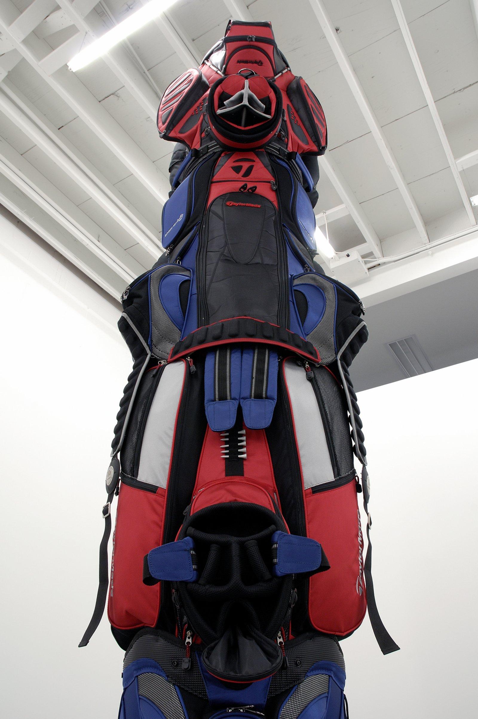 Brian Jungen, 1960 (detail), 2007, golf bags, cardboard tube, 155 x 36 x 48 in. (394 x 91 x 122 cm)   by Brian Jungen