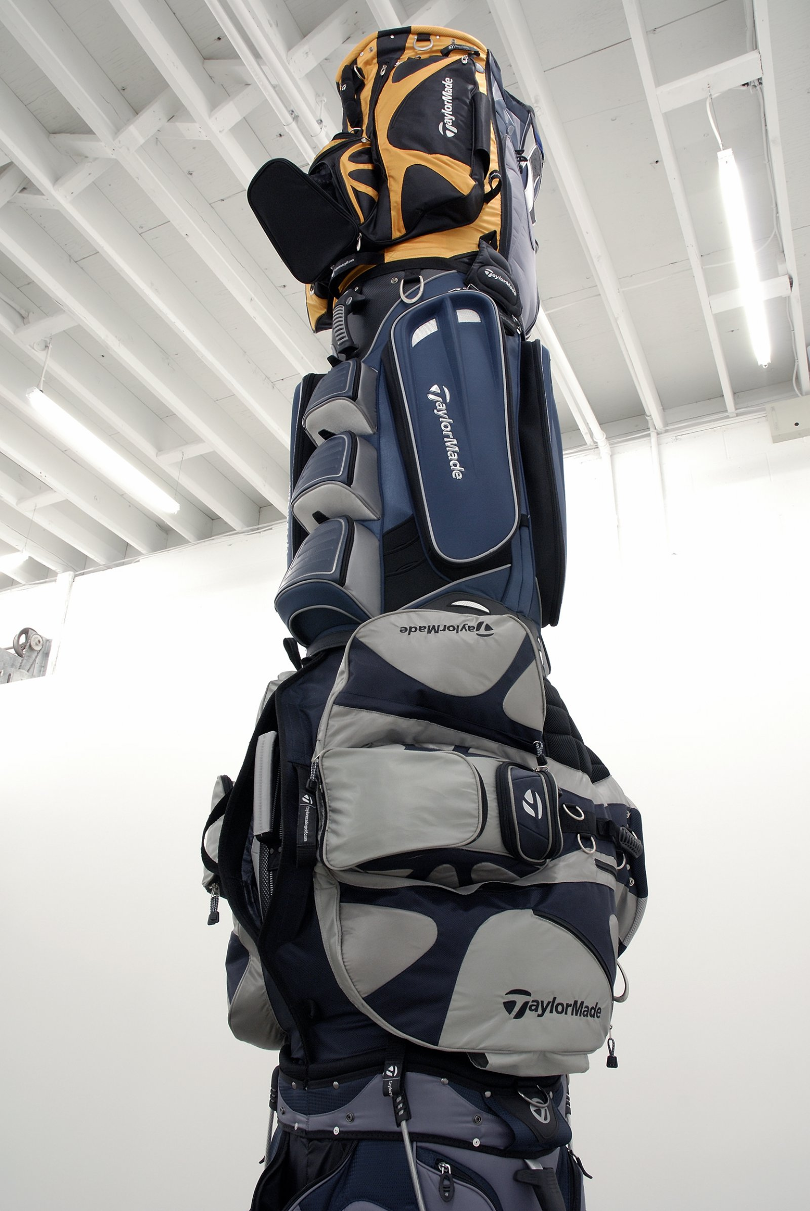 Brian Jungen, 1970 (detail), 2007, golf bags, cardboard tube, 151 x 30 x 35 in. (384 x 76 x 89 cm)   by Brian Jungen