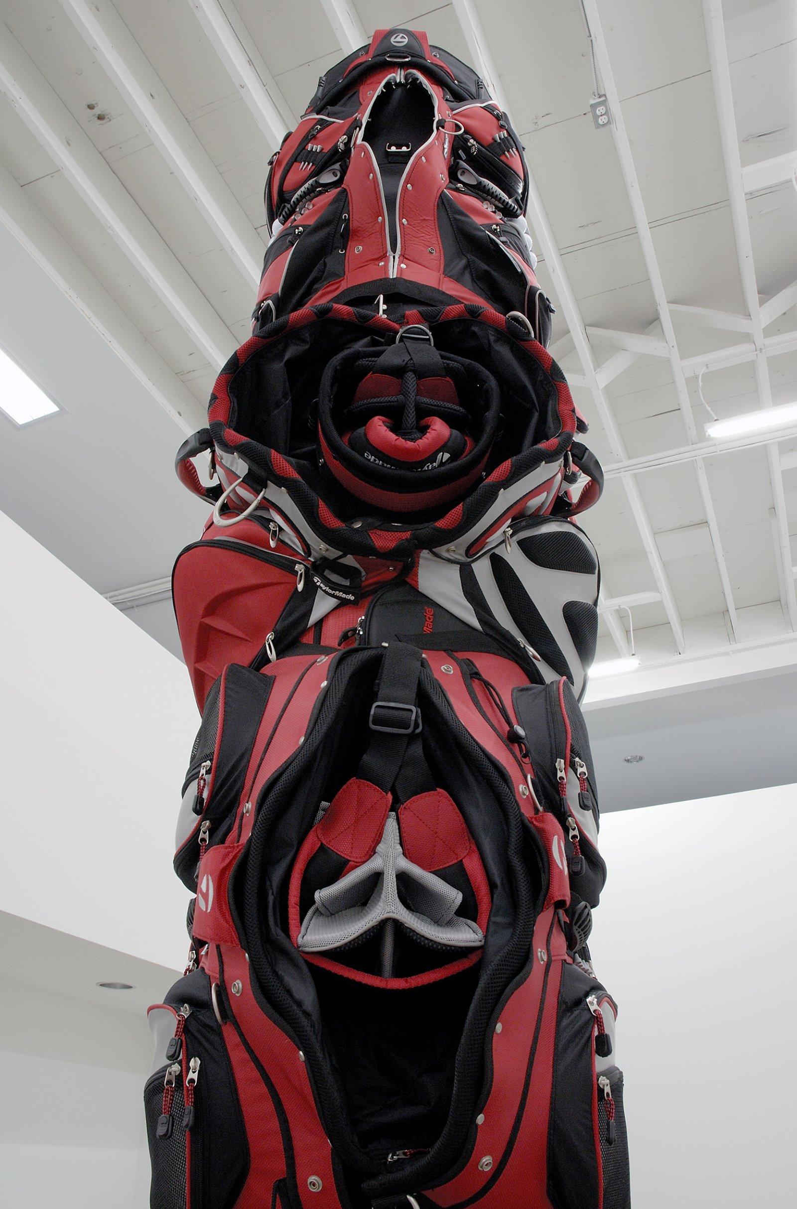 Brian Jungen, 1980 (detail), 2007, golf bags, cardboard tube, 138 x 27 x 27 in. (351 x 69 x 69 cm)   by Brian Jungen