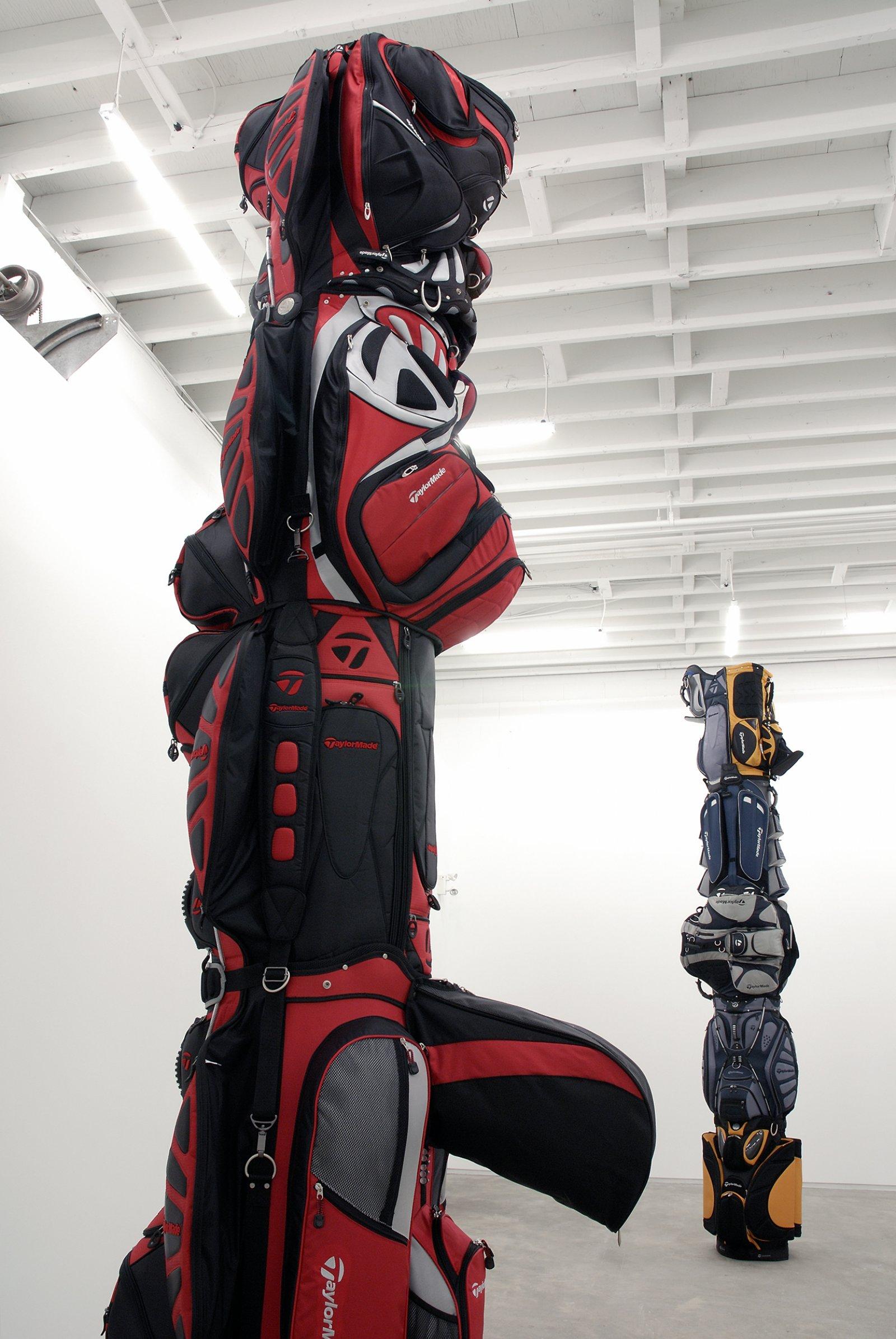 Brian Jungen, 2000, 2007, golf bags, cardboard tube, 146 x 30 x 38 in. (371 x 76 x 97 cm) by Brian Jungen