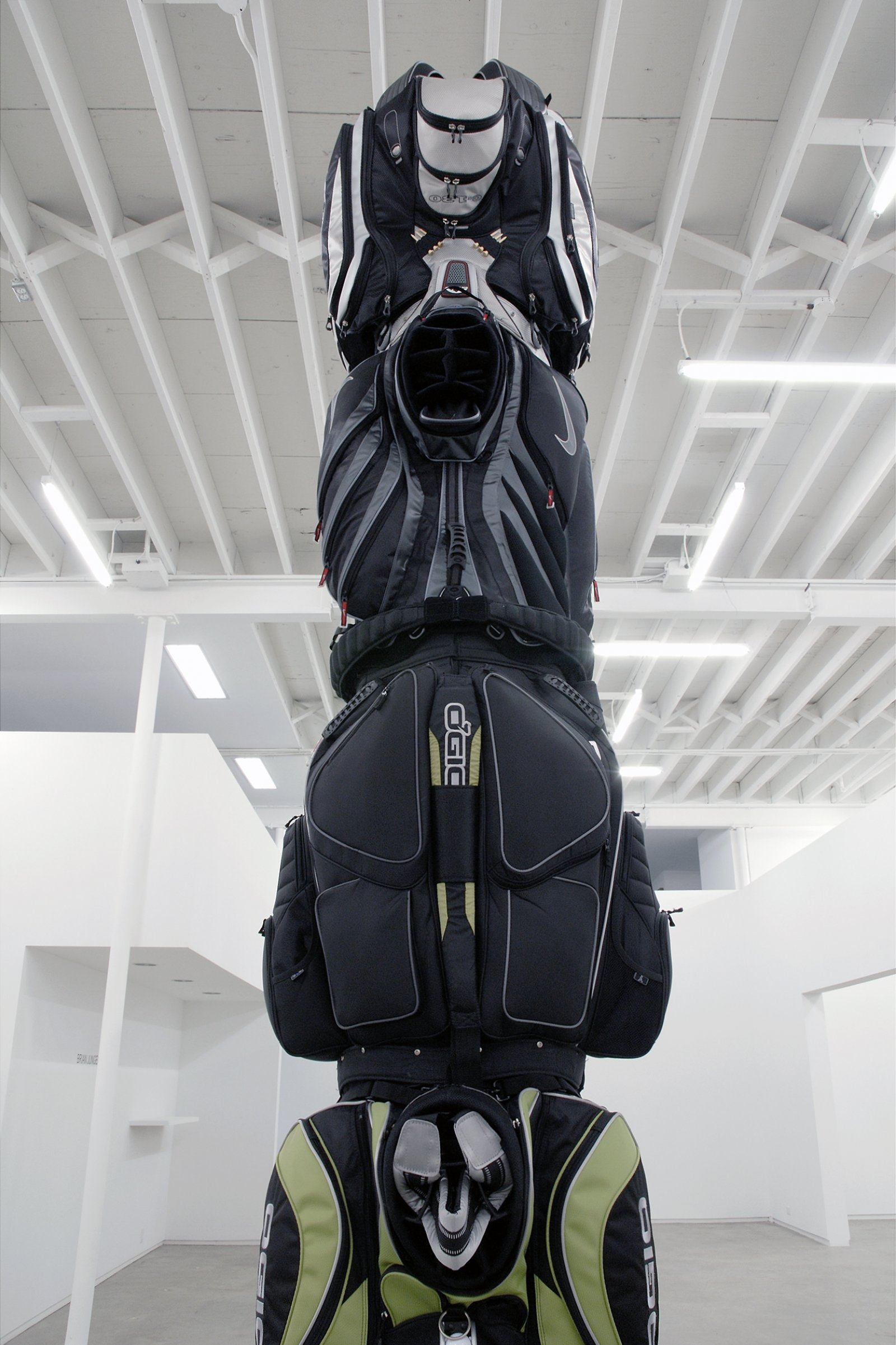 Brian Jungen, 2010 (detail), 2007, golf bags, cardboard tube, 149 x 29 x 32 in. (378 x 74 x 81 cm) by Brian Jungen