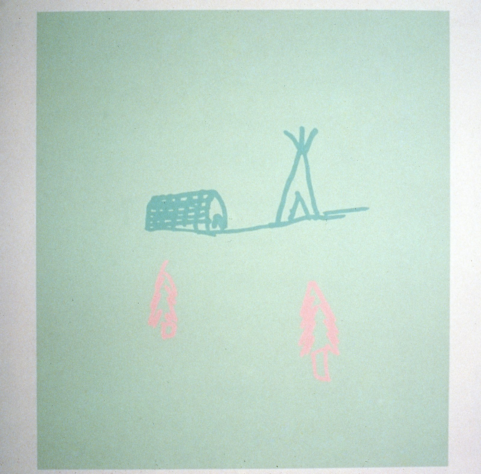 Brian Jungen,Anonymous Drawings (Village), 1997,latex paint on wall,98 x 197 in. (250 x 500 cm)