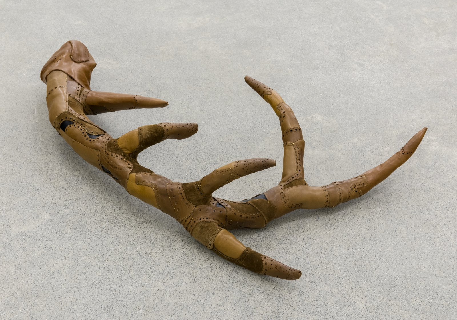 Brian Jungen, Antler Study (elk), 2007, leather shoes, rubber, brass tacks, 37 x 21 x 5 in. (93 x 53 x 13 cm)
