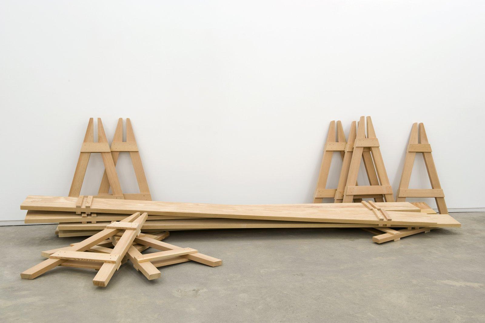 Brian Jungen, Barricades, 2010, fir, 5 parts, each: 41 x 26 x 144 in. (104 x 66 x 366 cm) by Brian Jungen