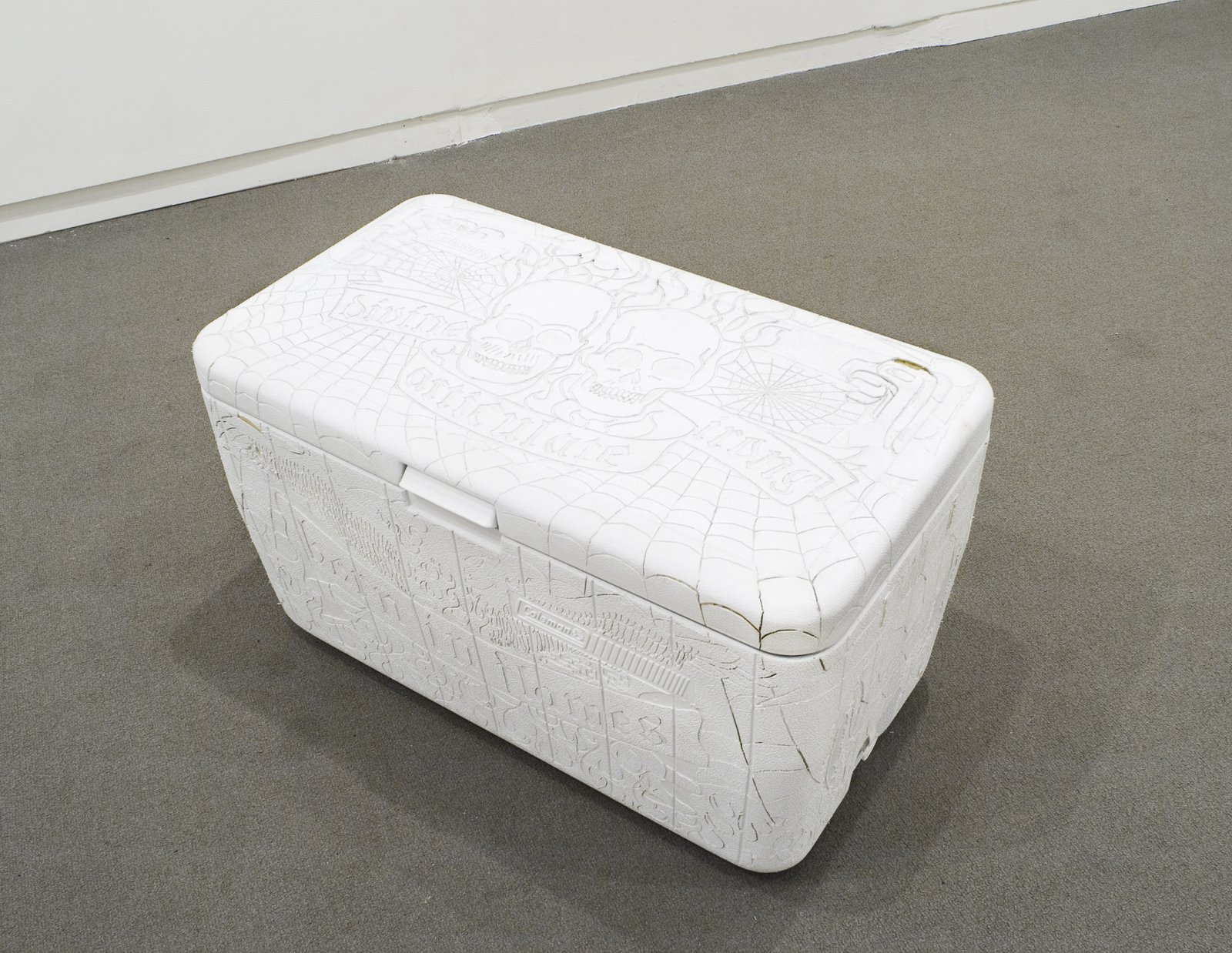 Brian Jungen,Beer Cooler, 2002, cooler, beer cans, 16 x 28 x 16 in. (41 x 71 x 41 cm)