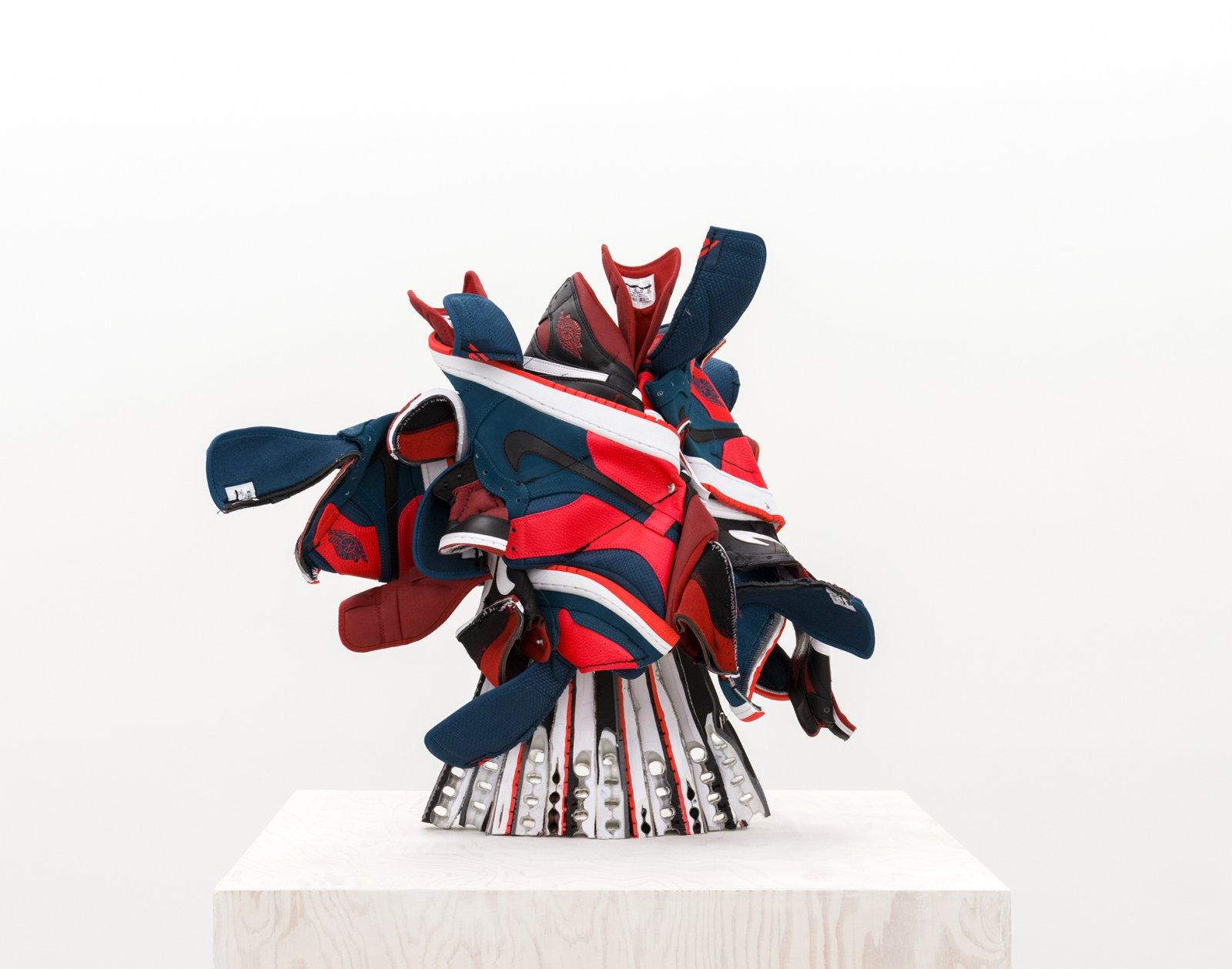 Brian Jungen, Broken Arrangement(detail), 2015–2016, nike air jordans, painted fir plywood, stainless steel, 75 x 20 x 20 in. (191 x 50 x 50 cm)
