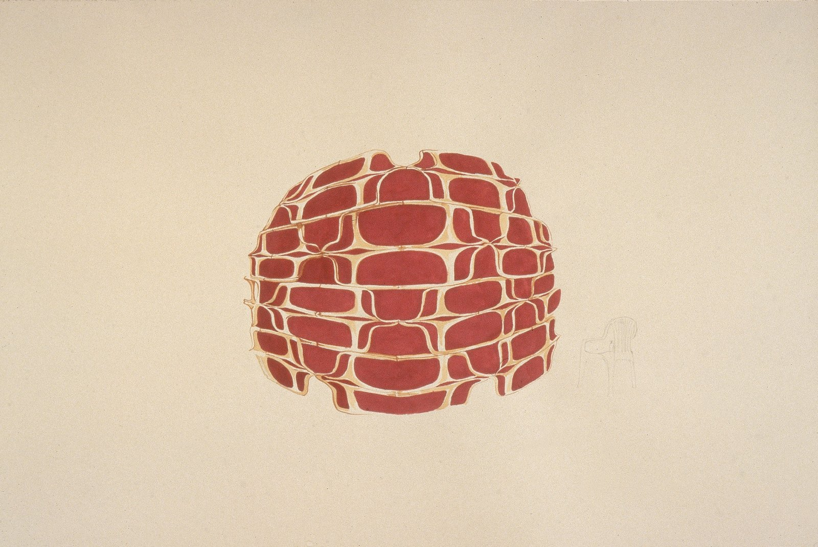 Brian Jungen,Bush Capsule Study, 2000, graphite and ink on paper, 40 x 52 in. (102 x 132 cm)