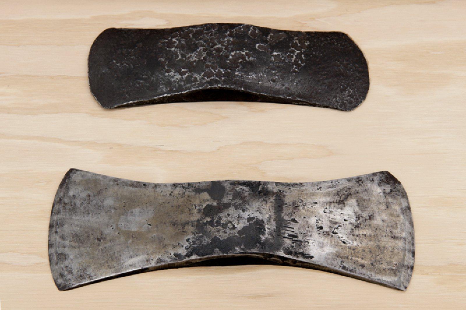 Brian Jungen,Bushido(detail), 2012,fir plywood, axe heads, tree, book,16 x 31 x 16 in. (41 x 79 x 41 cm)