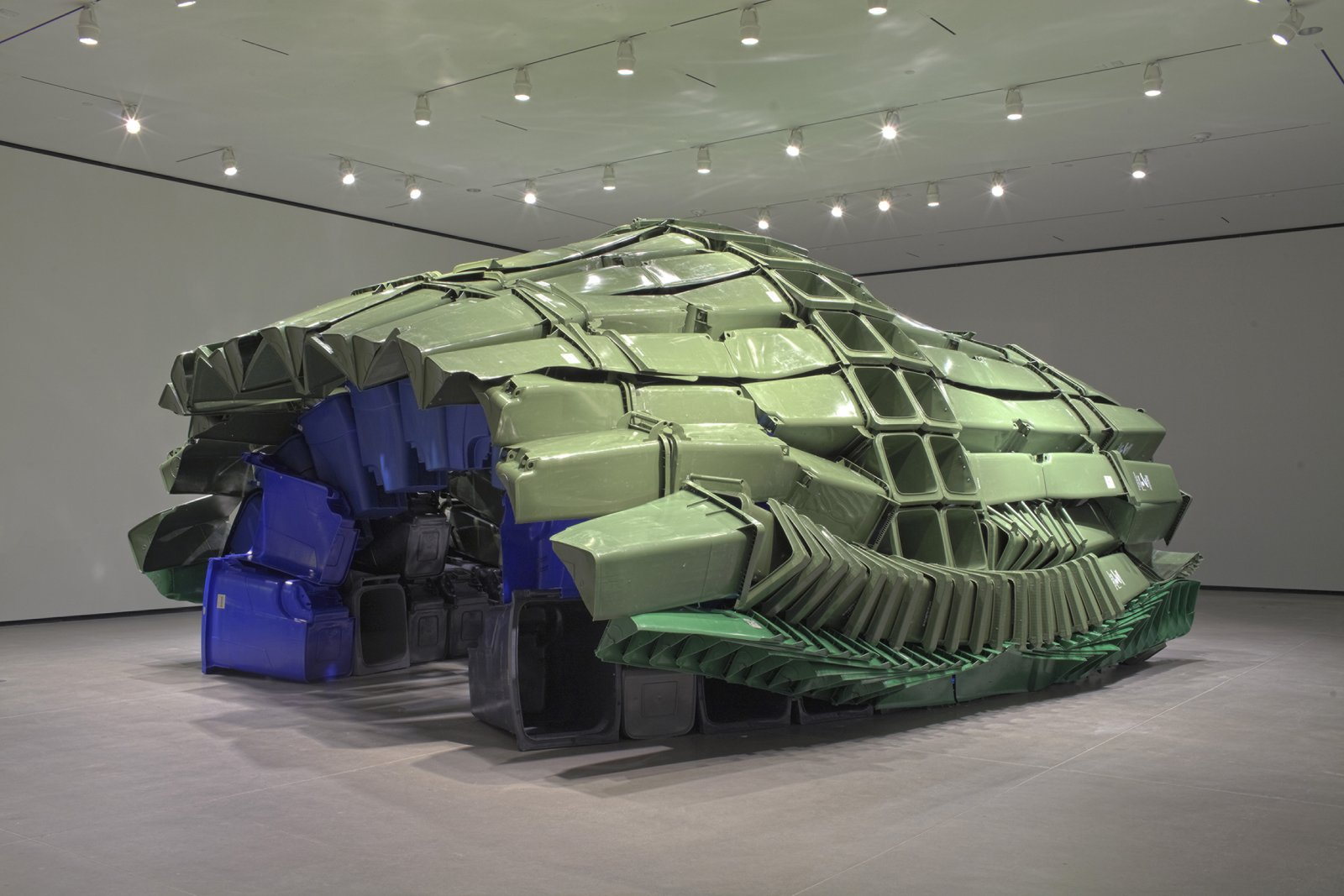 Brian Jungen,Carapace, 2009–2011, plastic recycling containers, 144 x 264 x 252 in. (370 x 670 x 640 cm). Installation view, Art Gallery of Alberta,Edmonton, AB, 2011