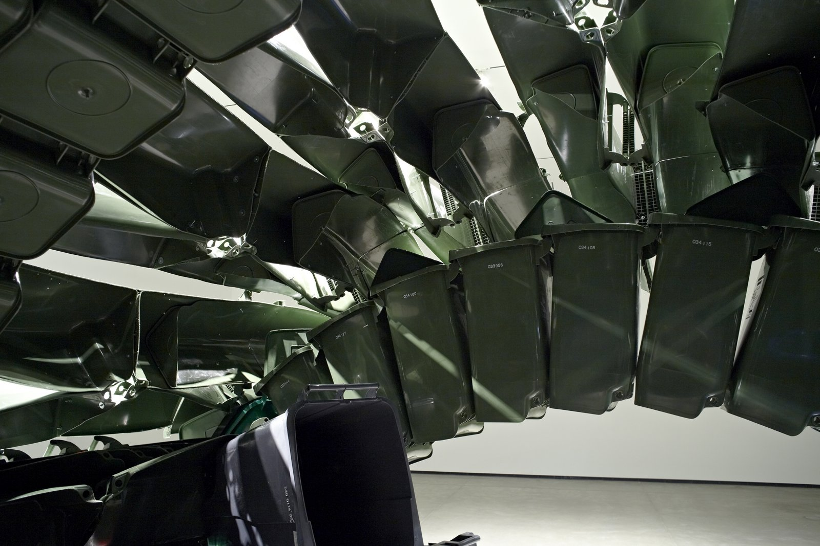 Brian Jungen,Carapace(detail), 2009–2011, plastic recycling containers, 144 x 264 x 252 in. (370 x 670 x 640 cm). Installation view, Art Gallery of Alberta,Edmonton, AB, 2011
