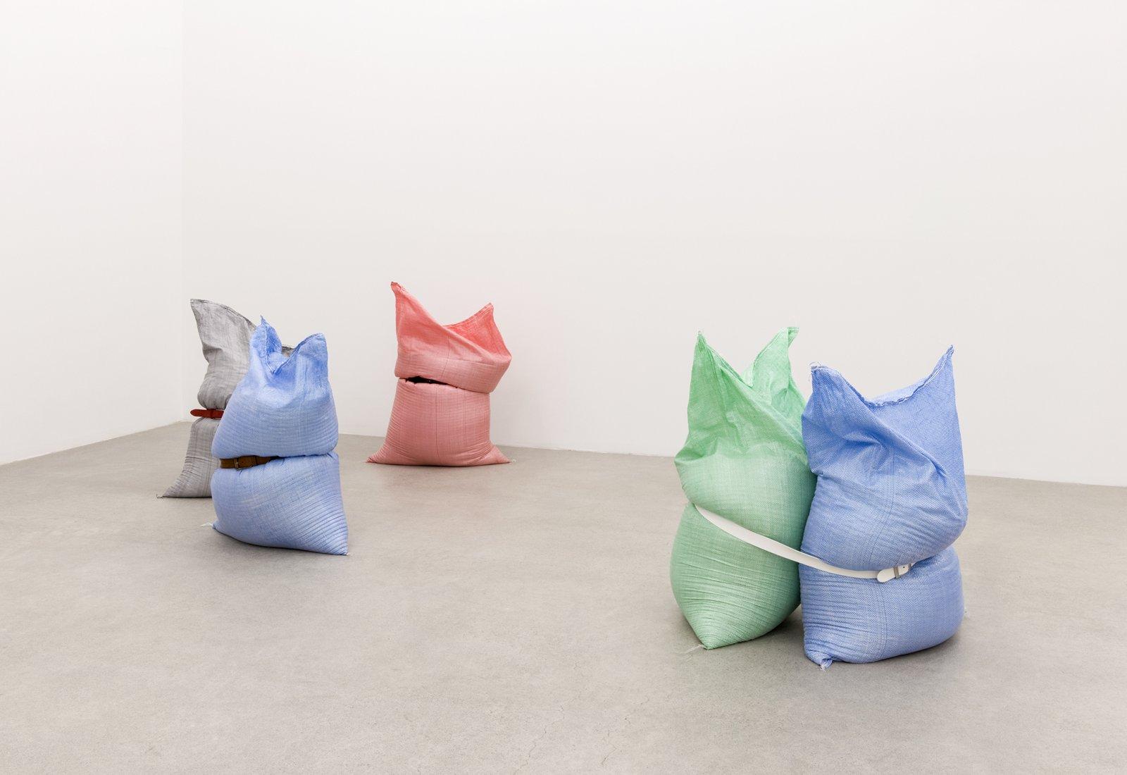 Brian Jungen,Fans, 2013, woven plastic bags, grain, belts, dimensions variable